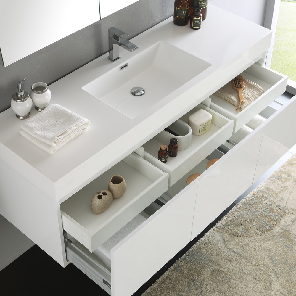 Shop Fresca Mezzo White 60-inch Wall Hung Single Sink Modern ...