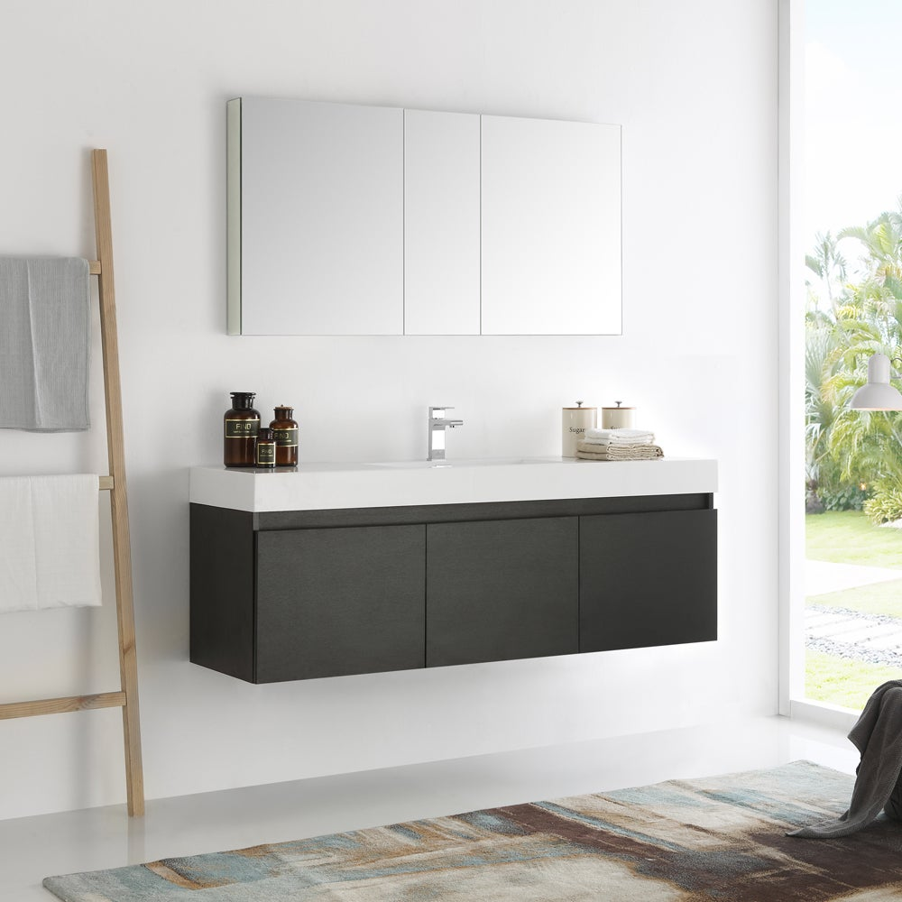 Fresca Mezzo Black 60-inch Wall Hung Single Sink Modern Bathroom ...
