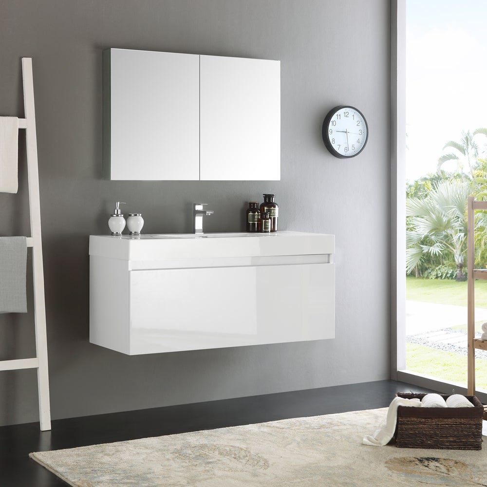 Fresca Mezzo White 48-inch Wall Hung Modern Bathroom Vanity with ...