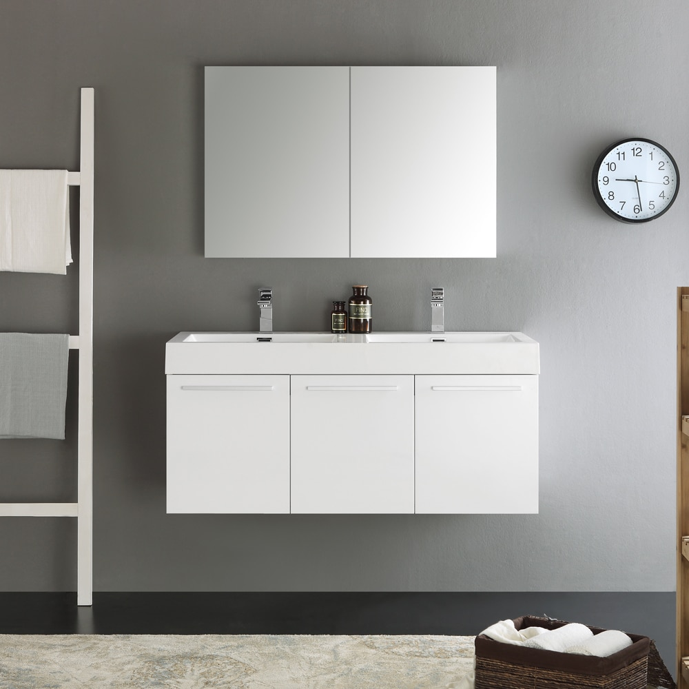 Shop Fresca Vista White 48-inch Wall Hung Double Sink Modern ...