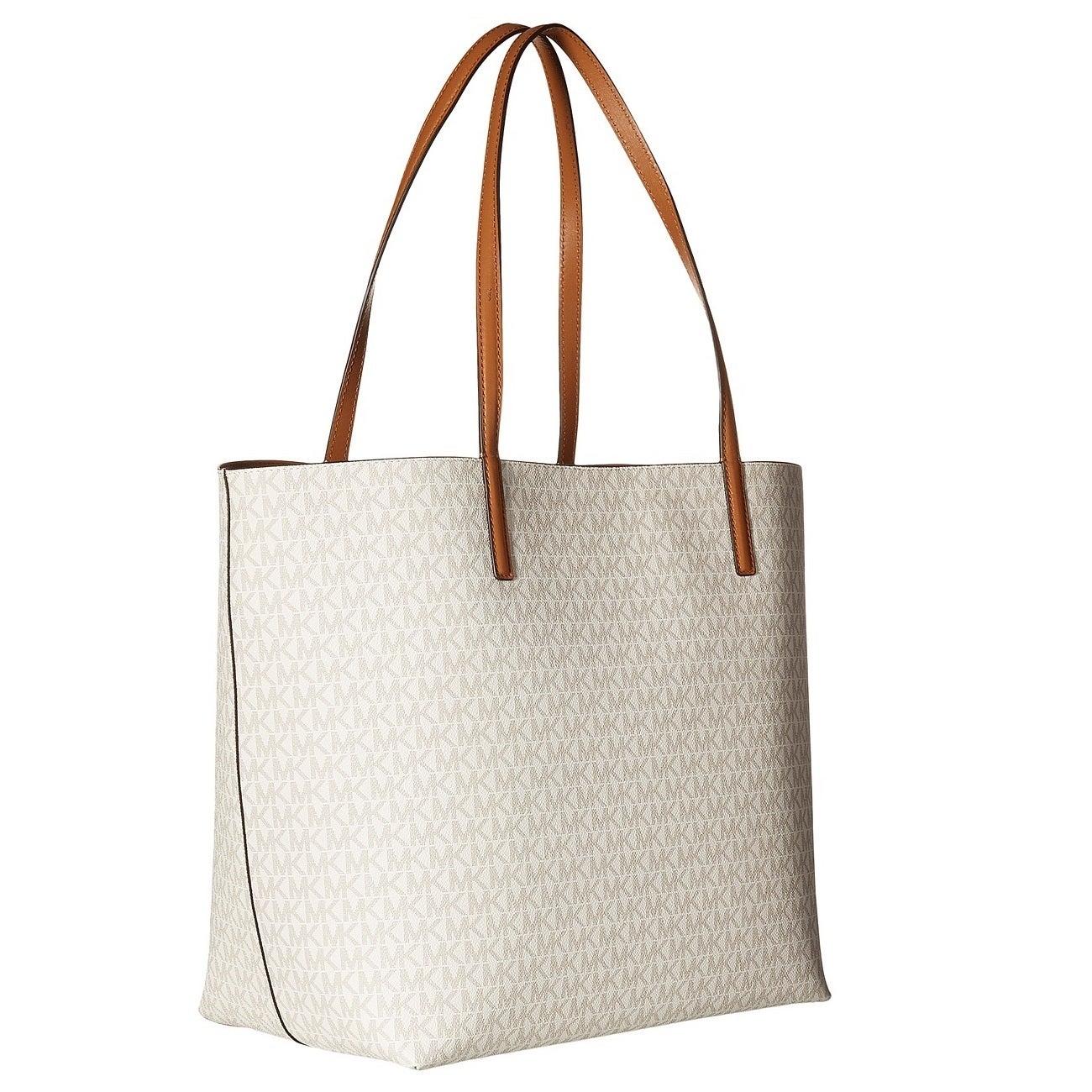 b1f0b4f73dff Shop Michael Kors Hayley Vanilla/ Acorn Large Logo Tote Bag - On Sale - Free  Shipping Today - Overstock - 12876168