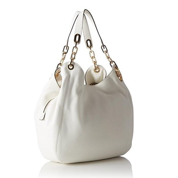 269bc02ef287c2 Shop Michael Kors Fulton Large Optic White Leather Shoulder Handbag - Free  Shipping Today - Overstock - 12876240
