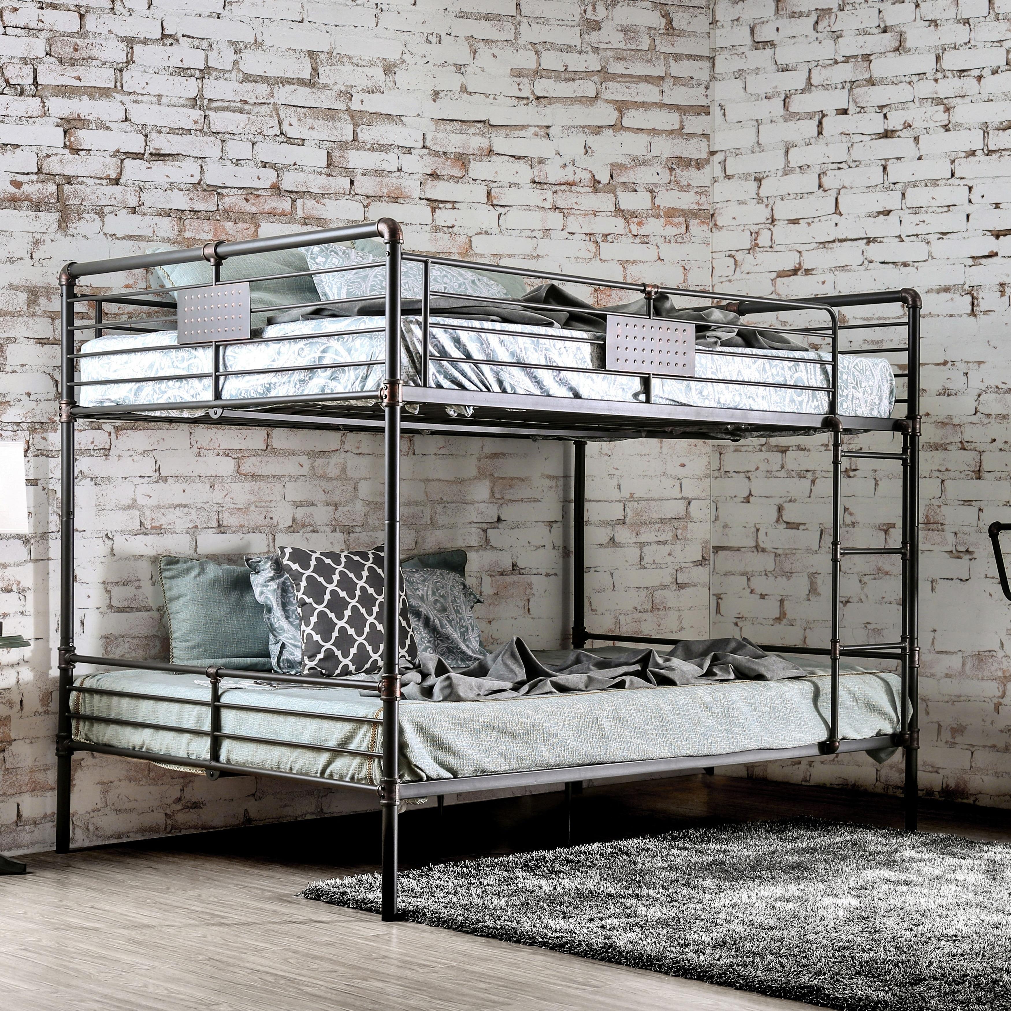Shop Herman Contemporary Queen Over Queen Antique Black Bunk Bed By
