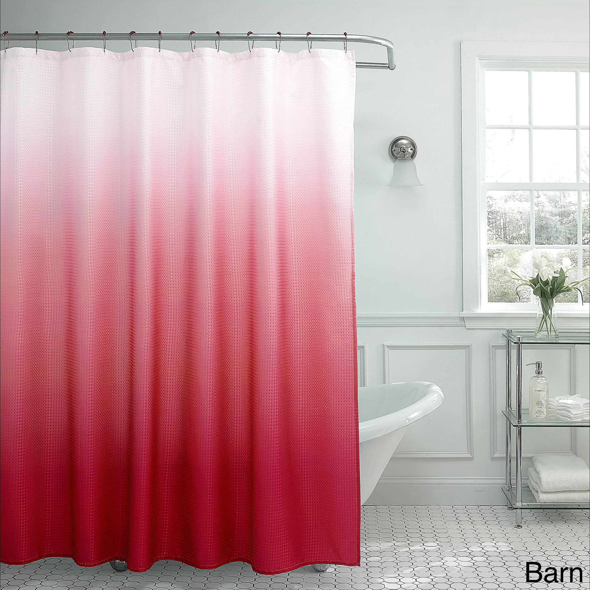 Creative Home Ideas Ombre Waffle Weave Shower Curtain w/ 12 Color  Coordinating Metal Rings - Free Shipping On Orders Over $45 - Overstock.com  - 19636653