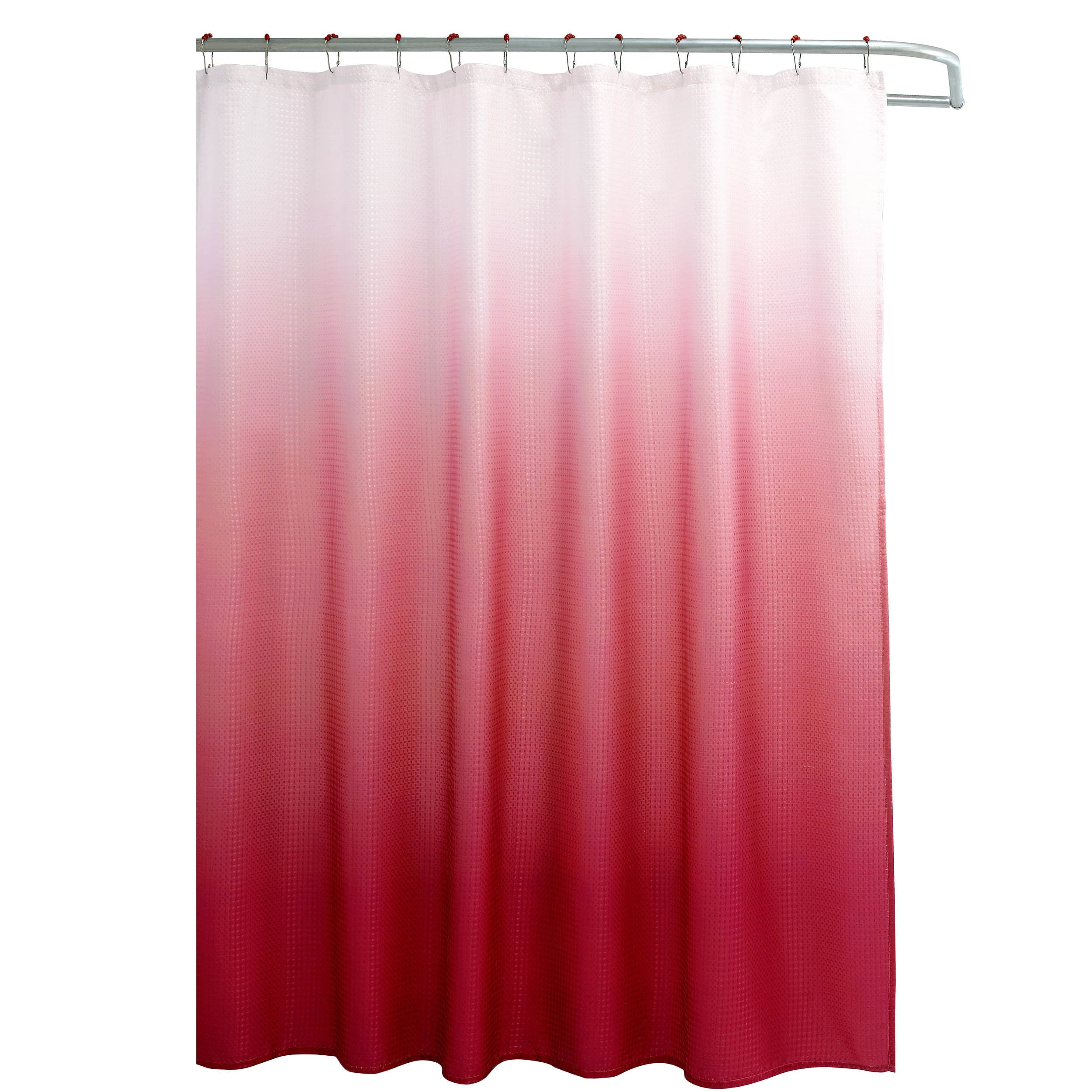 Shop Creative Home Ideas Ombre Waffle Weave Shower Curtain w/ 12 ...