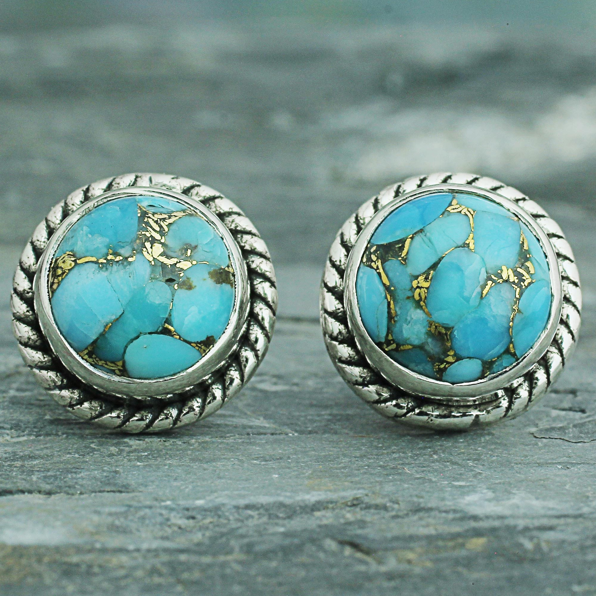 Handmade Sterling Silver Cool Aqua Radiance Turquoise Earrings India On Free Shipping Orders Over 45 12881921