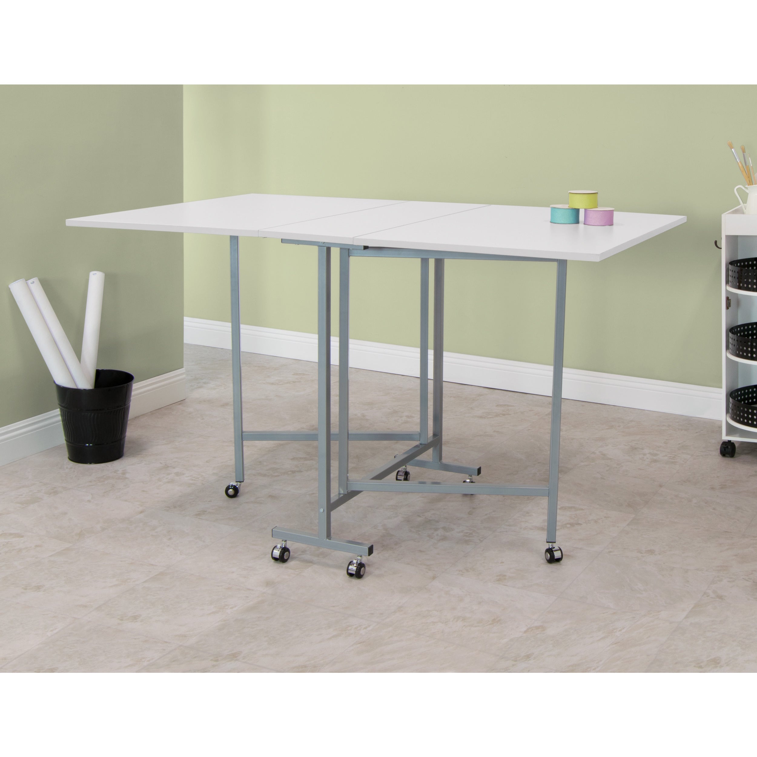 Studio Designs White Powder Coated Craft And Cutting Sewing Table On Free Shipping Today 12884533