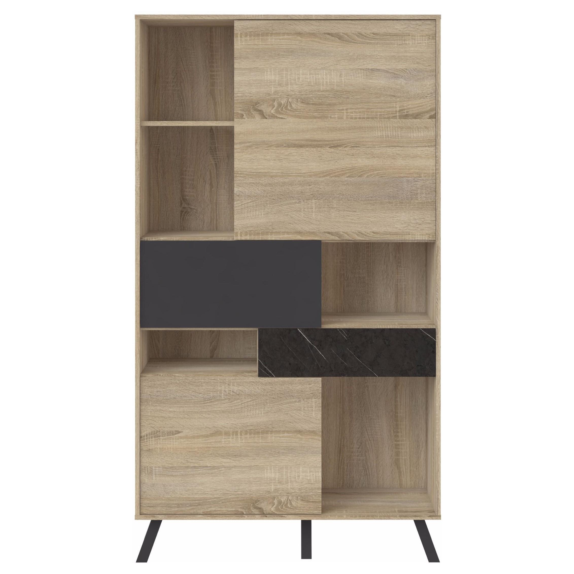 Nashville wood mid century modern storage bookcase