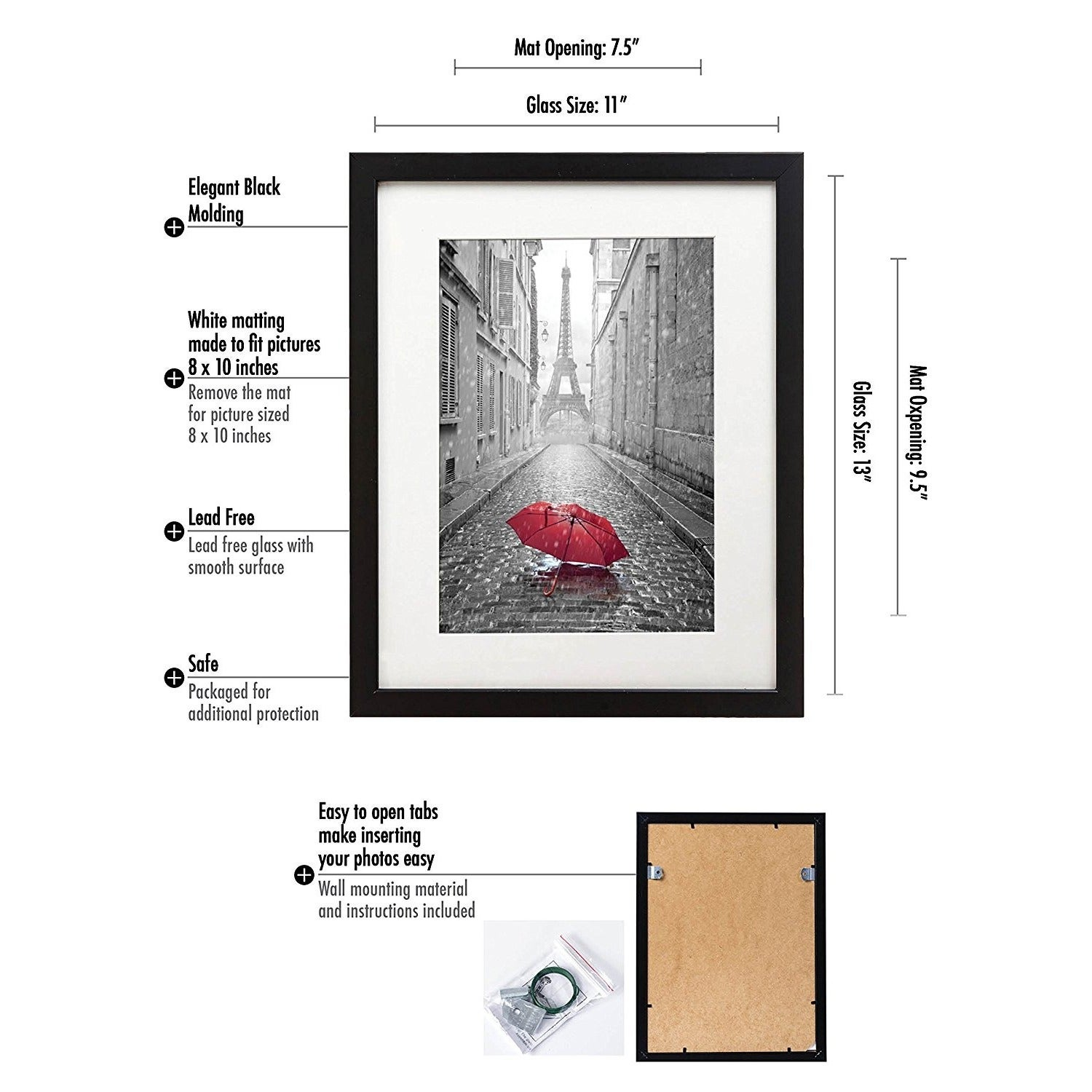 11 x 13 inch black picture frame with hanging hardware for 8 x 10 11 x 13 inch black picture frame with hanging hardware for 8 x 10 inch pictures with mat or 11 x 13 inch pictures without mat free shipping on orders over jeuxipadfo Image collections