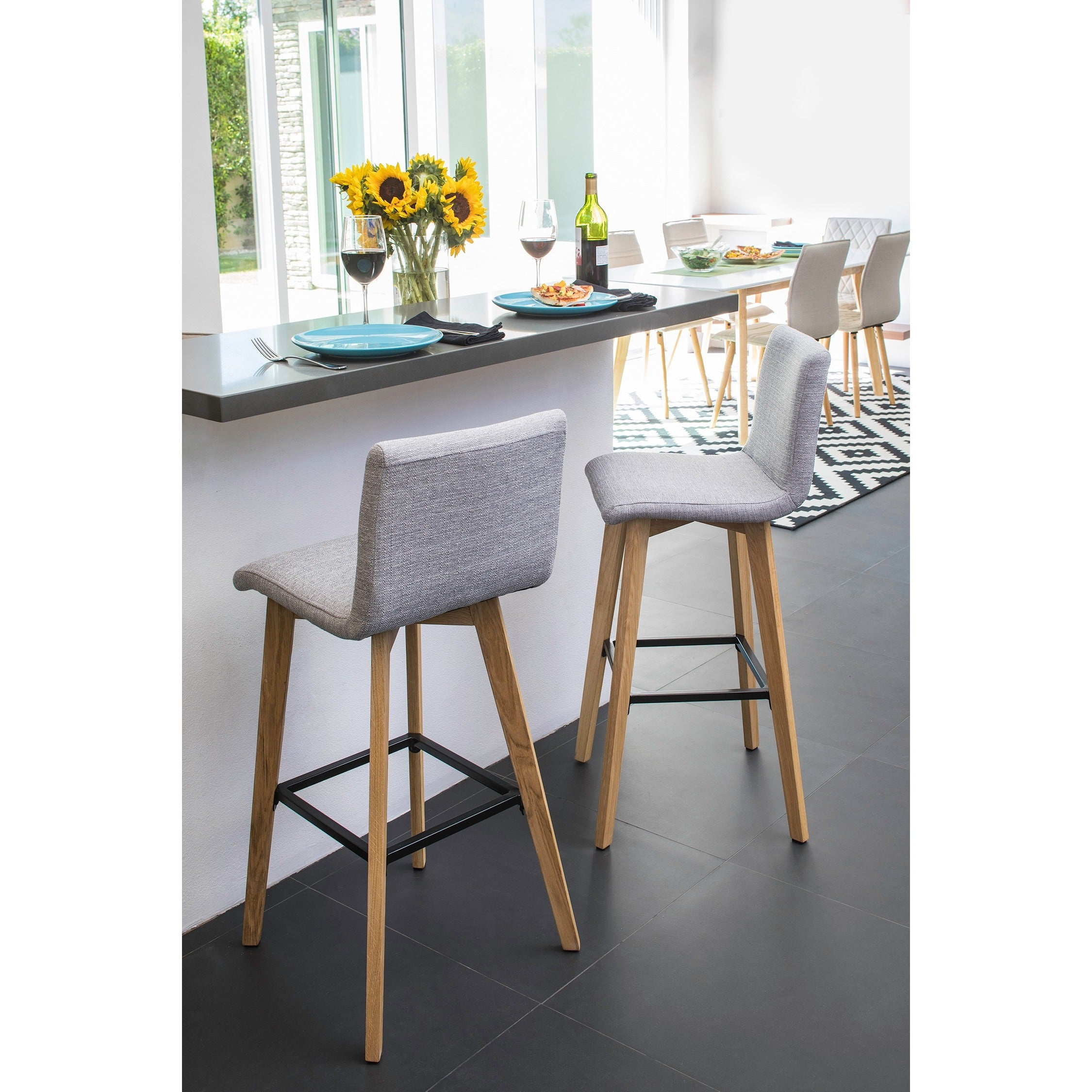 Shop Handy Living Curved Back Dove Grey Linen 30 Inch Bar Stools