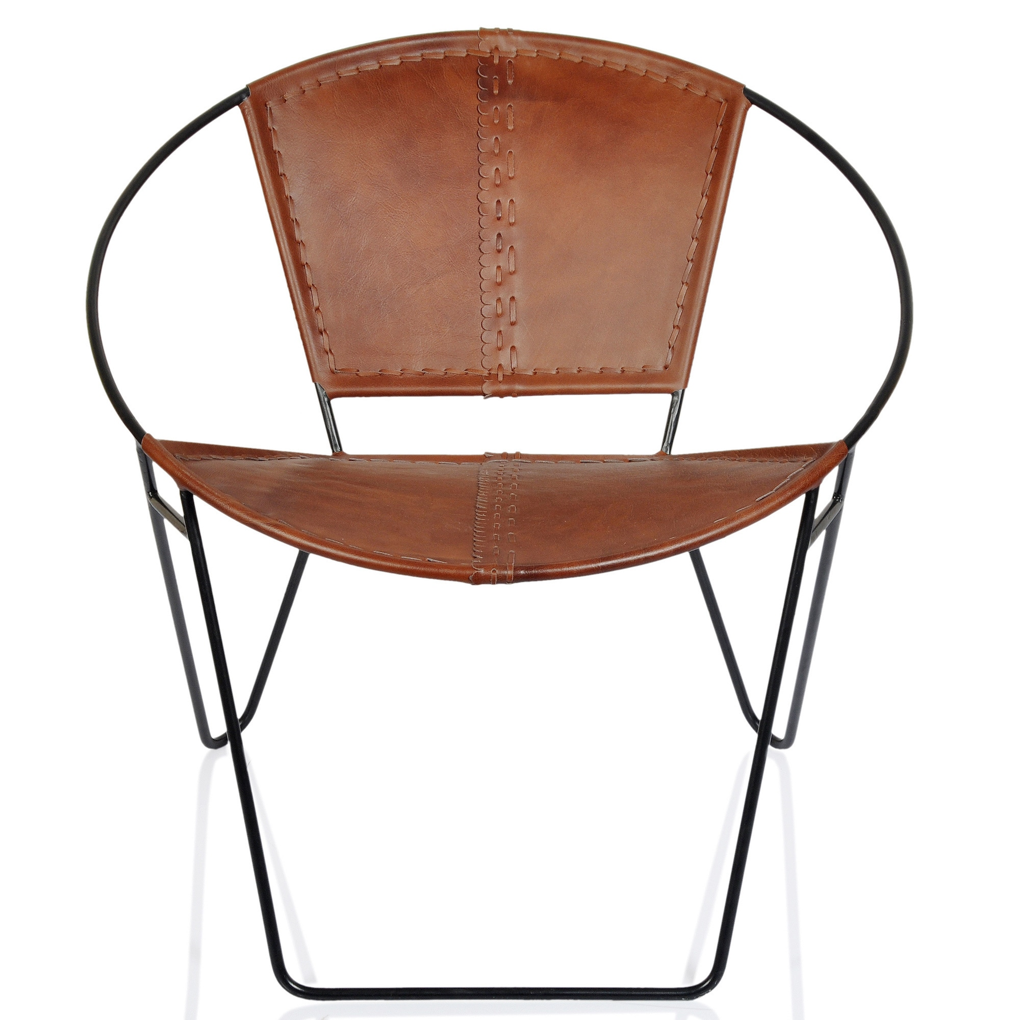 Shop Pine Canopy Midewin Mid Century Tobacco Leather Chair   On Sale   Free  Shipping Today   Overstock.com   20882596