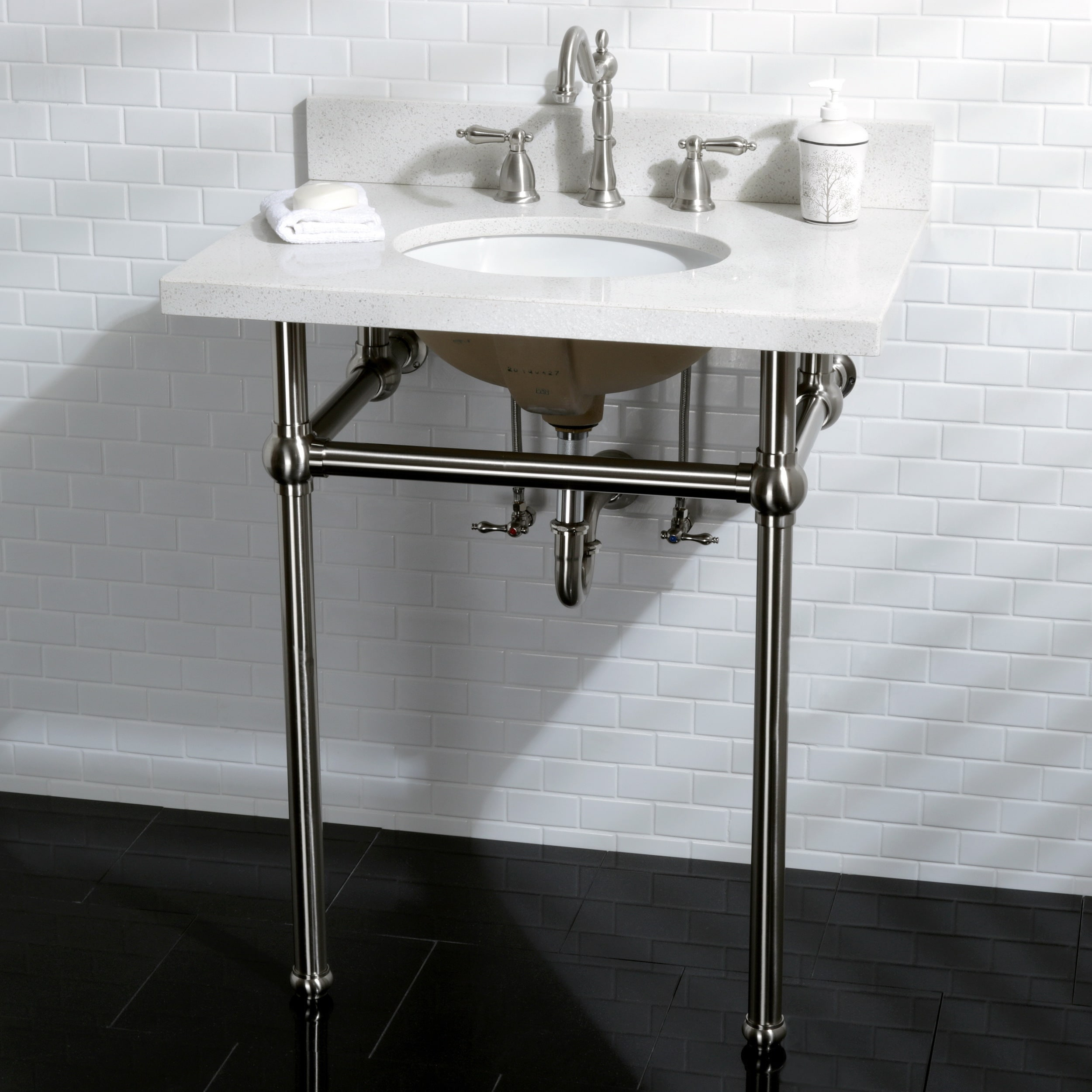 White Quartz 30 Inch Wall Mount Pedestal Bathroom Sink Vanity With Metal Stand Free Shipping Today 12898405