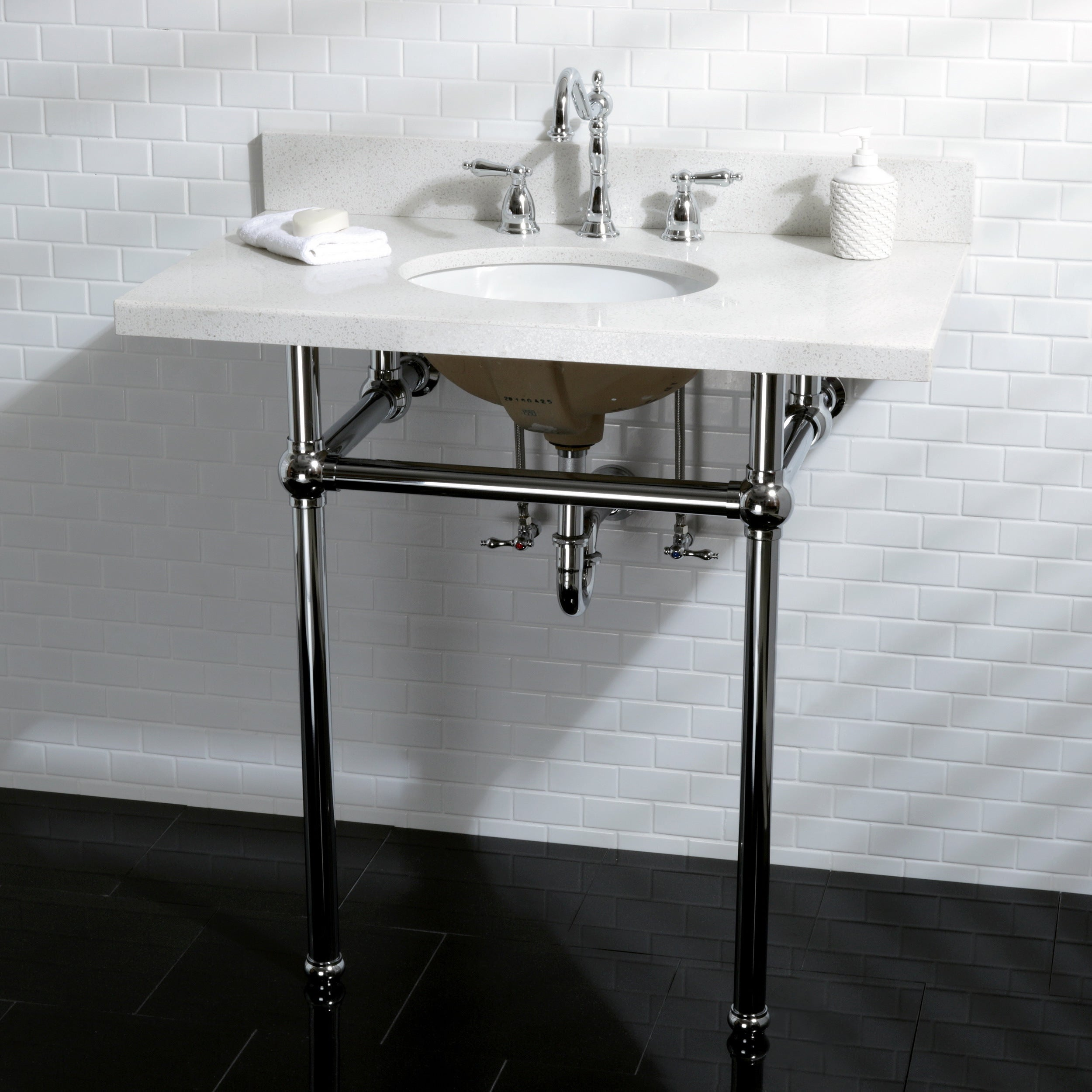 Superbe Shop White Quartz 36 Inch Wall Mount Pedestal Bathroom Sink Vanity With  Metal Stand   Free Shipping Today   Overstock.com   12898447