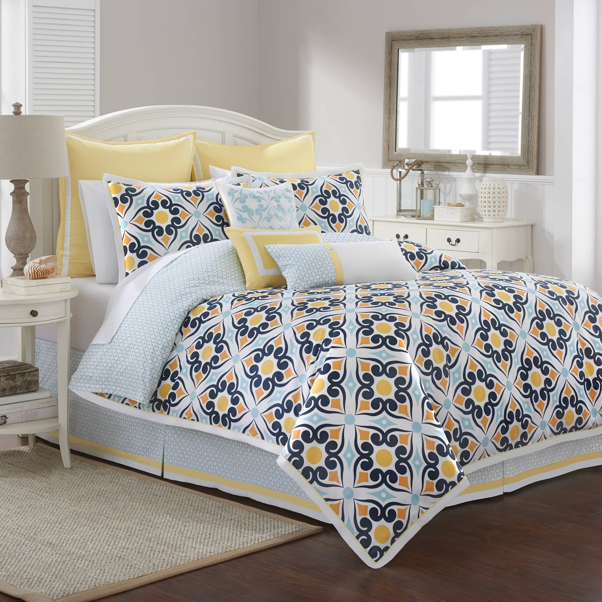 colors southern blue pillows bedding aztec comforter juvi vcny navy hotel multiple brown available included piece tide decorative kids and home set orange