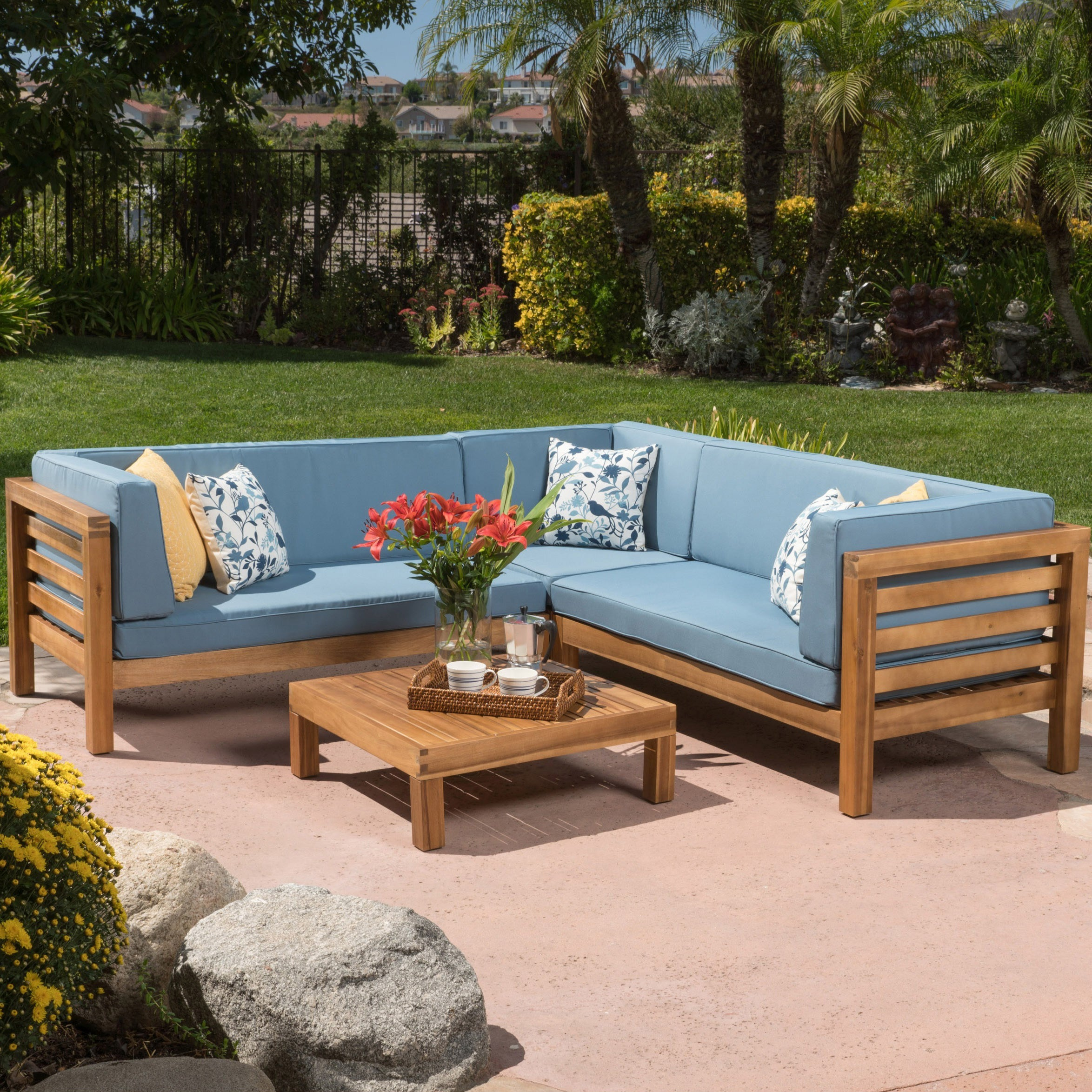 Oana Outdoor 4 Piece Acacia Wood Sectional Sofa Set With Cushions By Christopher Knight Home Free Shipping Today 12900544