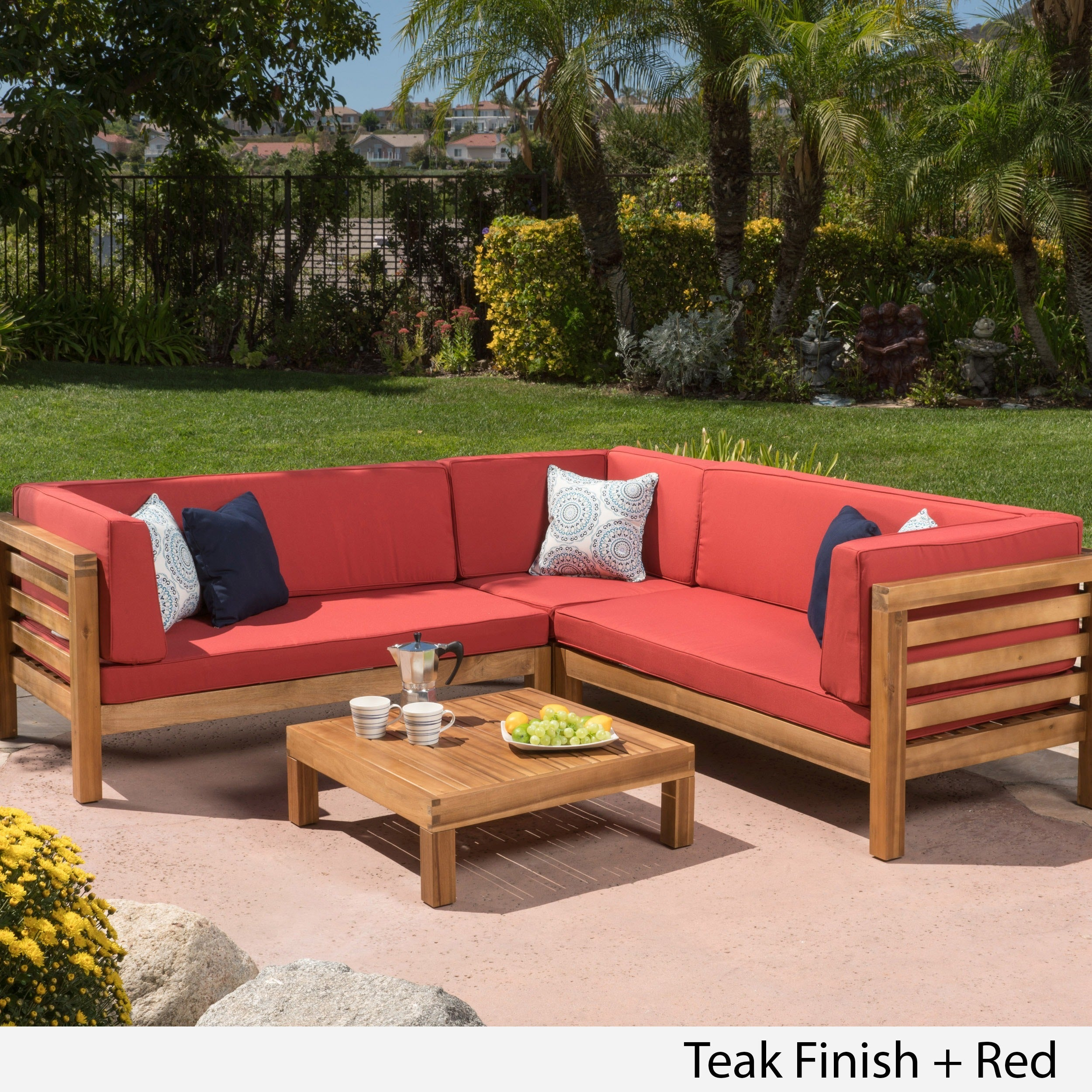 Shop Oana Outdoor 4 Piece Acacia Wood Sectional Sofa Set With Cushions By  Christopher Knight Home   On Sale   Free Shipping Today   Overstock.com    12900544