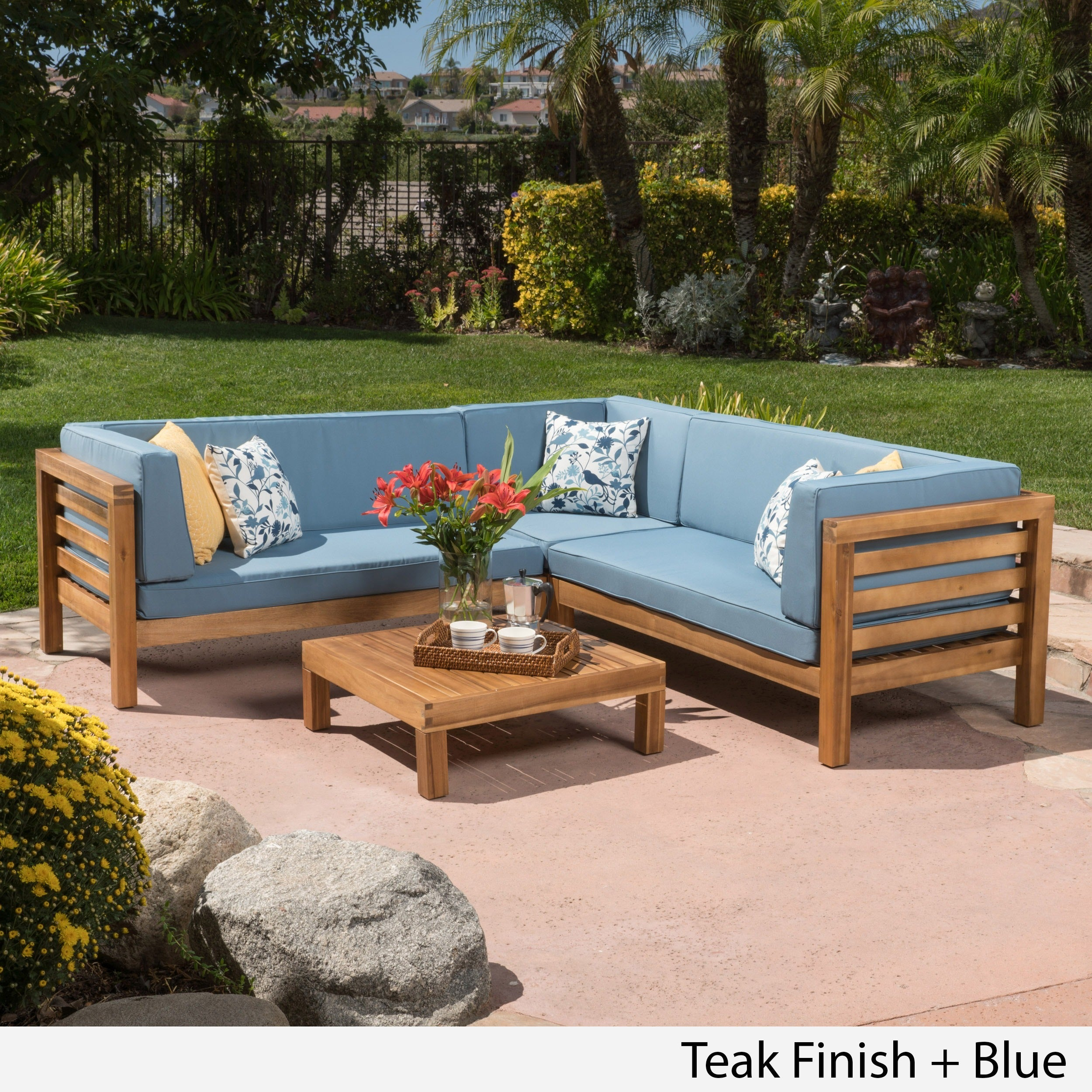 Oana Outdoor 4 Piece Acacia Wood Sectional Sofa Set With Cushions By Christopher Knight Home Free Shipping Today 19657674