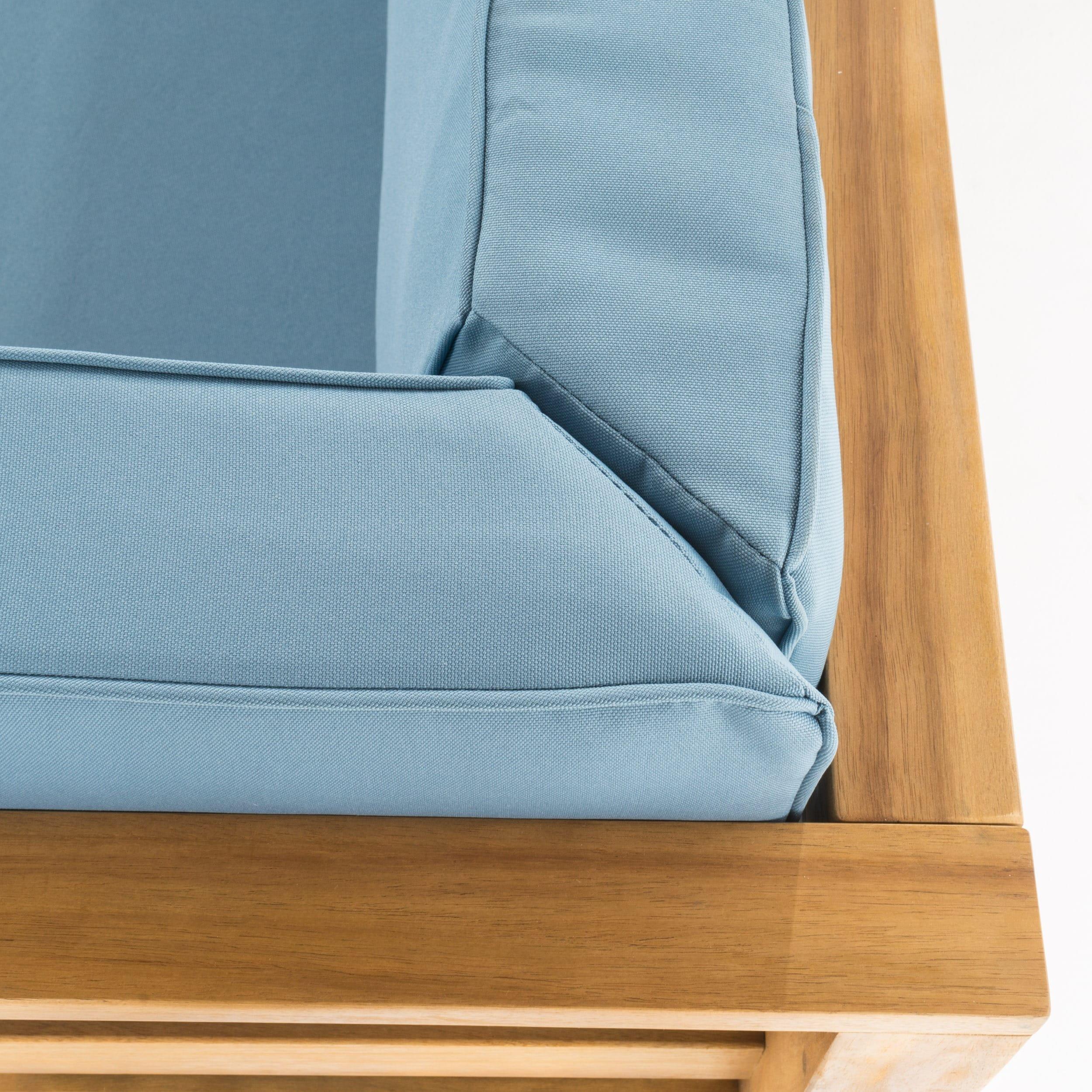 Shop Oana Outdoor 4-Piece Acacia Wood Sectional Sofa Set with ...