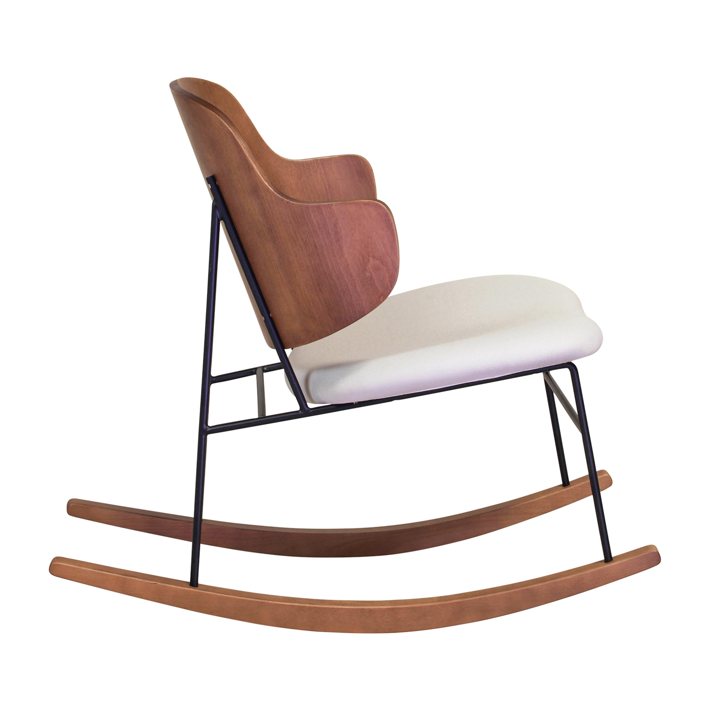 Design Tree Home Peguin Cream Metal/Wood Rocking Chair With Walnut ...