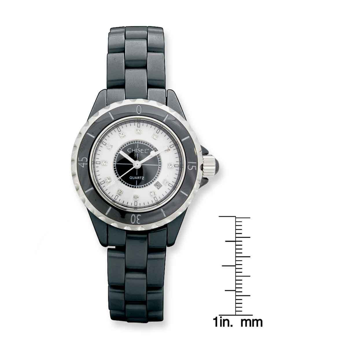 ed8dd96b9f680 Shop Chisel Women s Black Ceramic with Black and White Dial Watch - Free  Shipping Today - Overstock.com - 12915153
