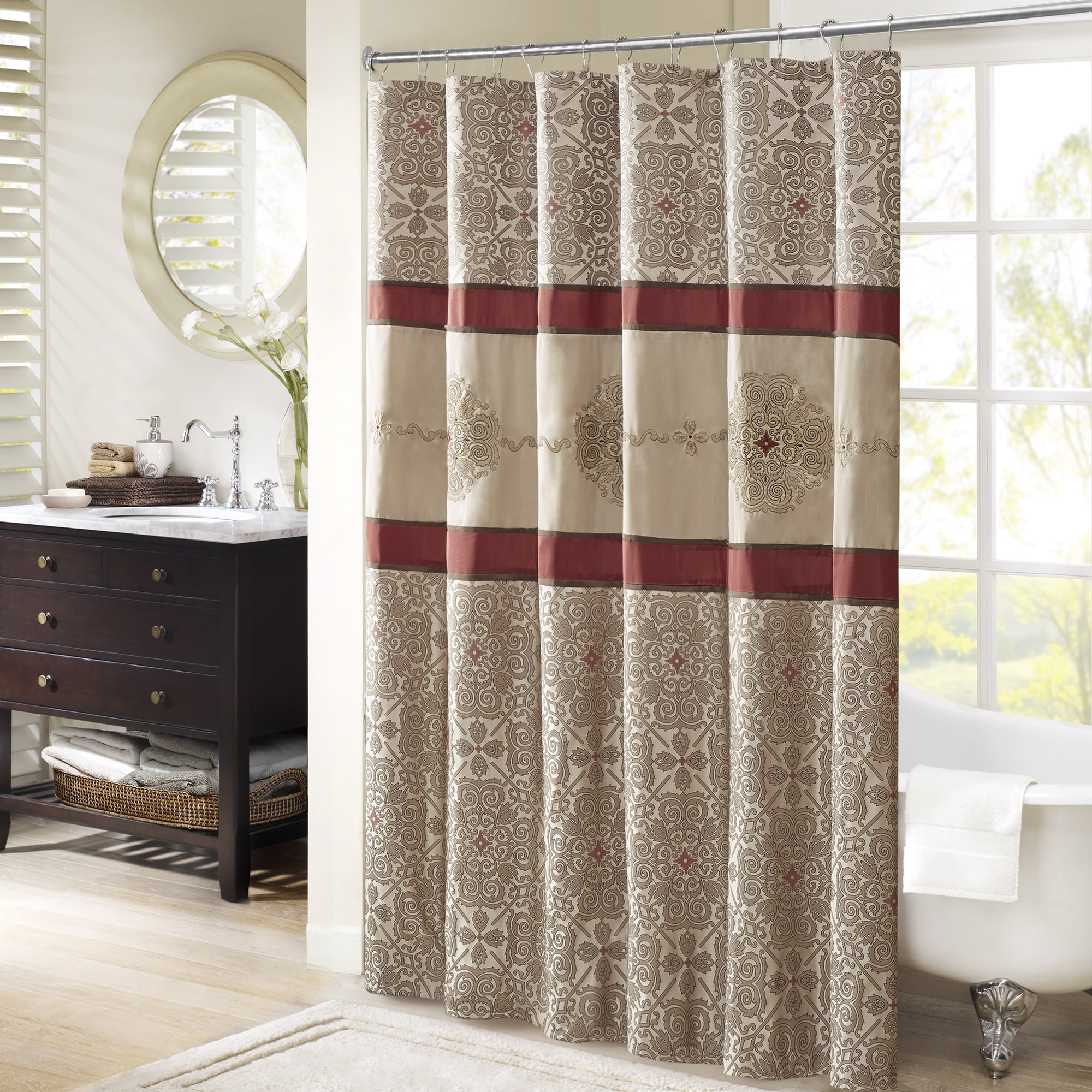 Shop Madison Park Blaine Red Jacquard Shower Curtain With Embroidery