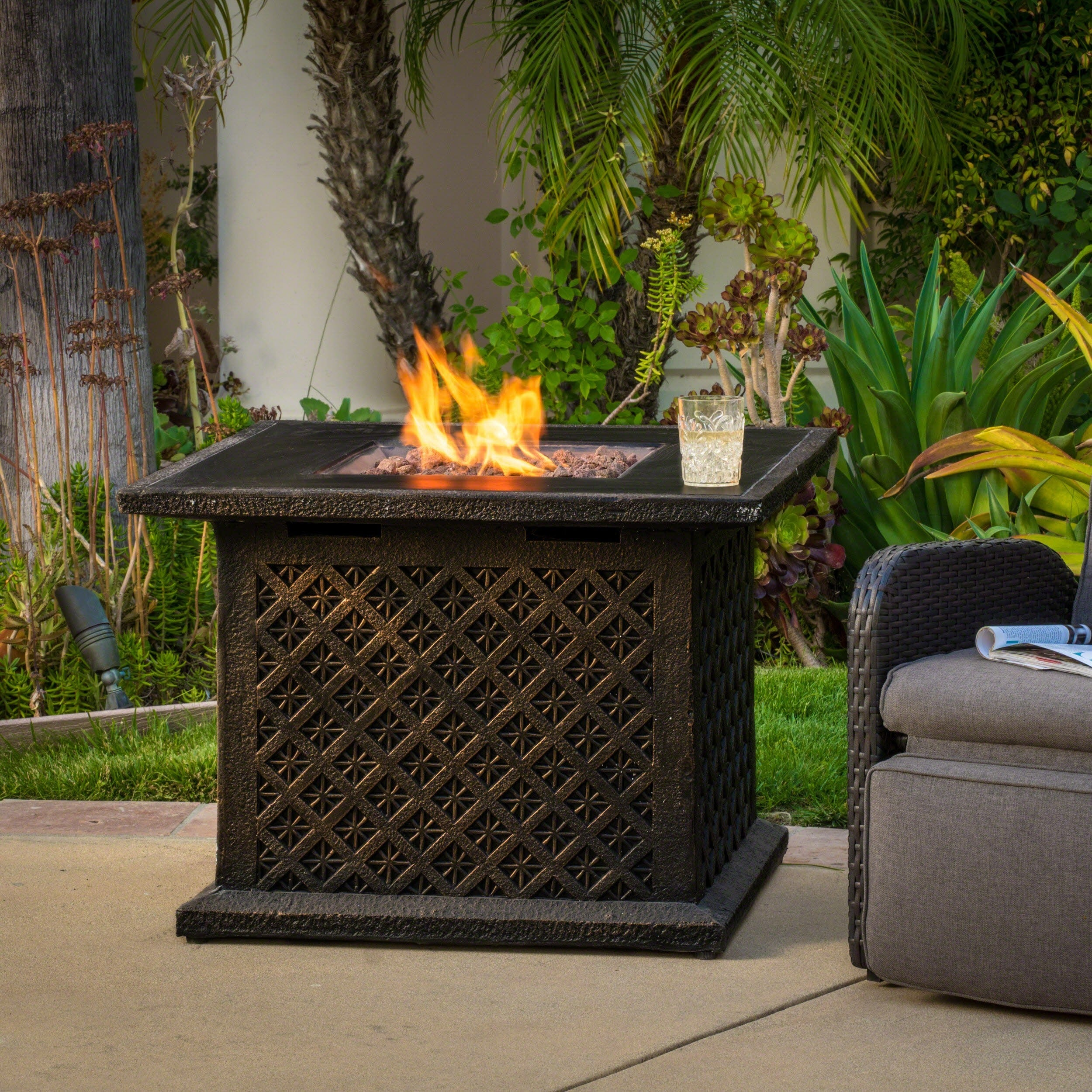 Shop Manila Outdoor 33 Square Propane Fire Pit With Lava Rocks By