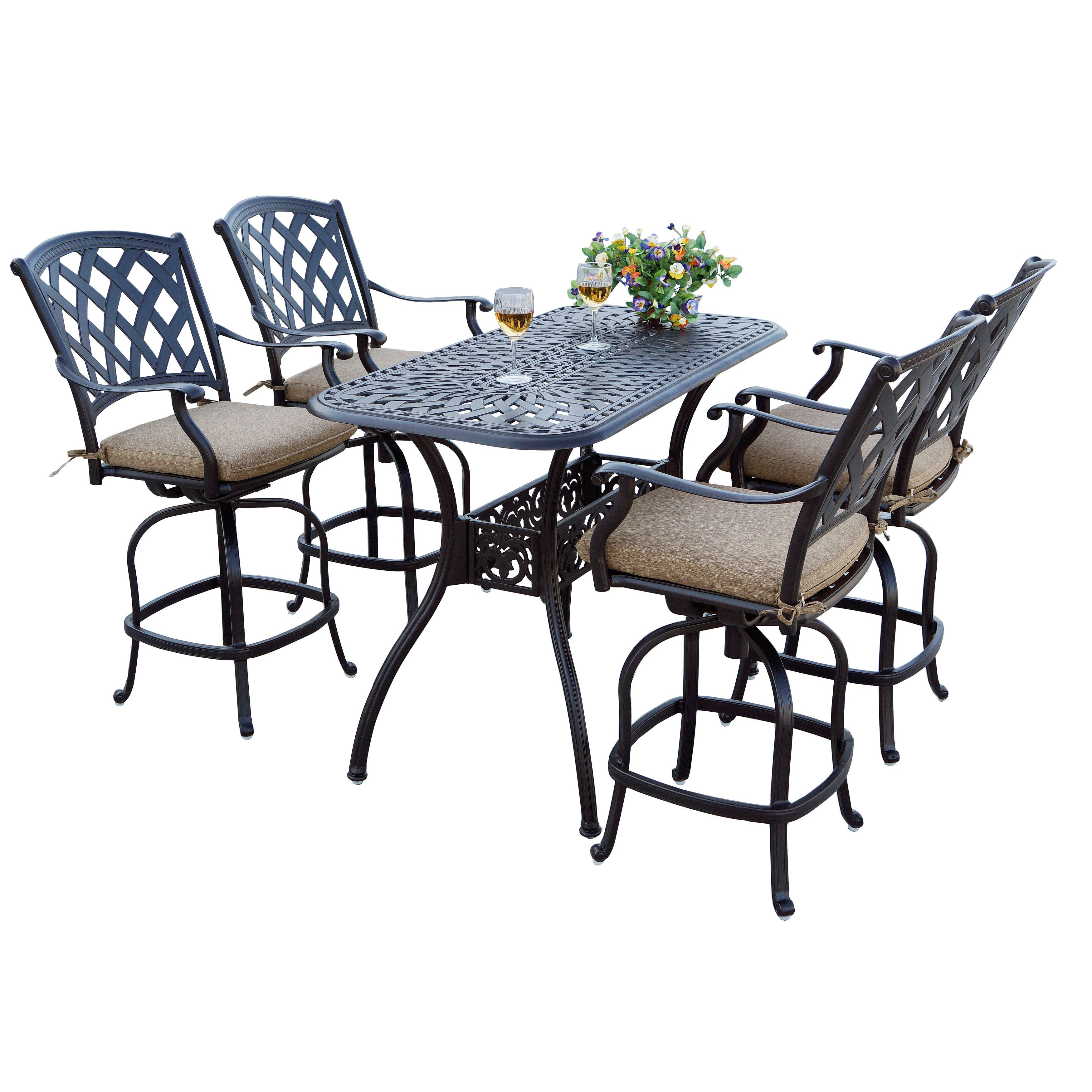 Darlee ocean view antique bronze finish cast aluminum 26 inch x 52 inch counter height bar table and 4 chairs antique bronze