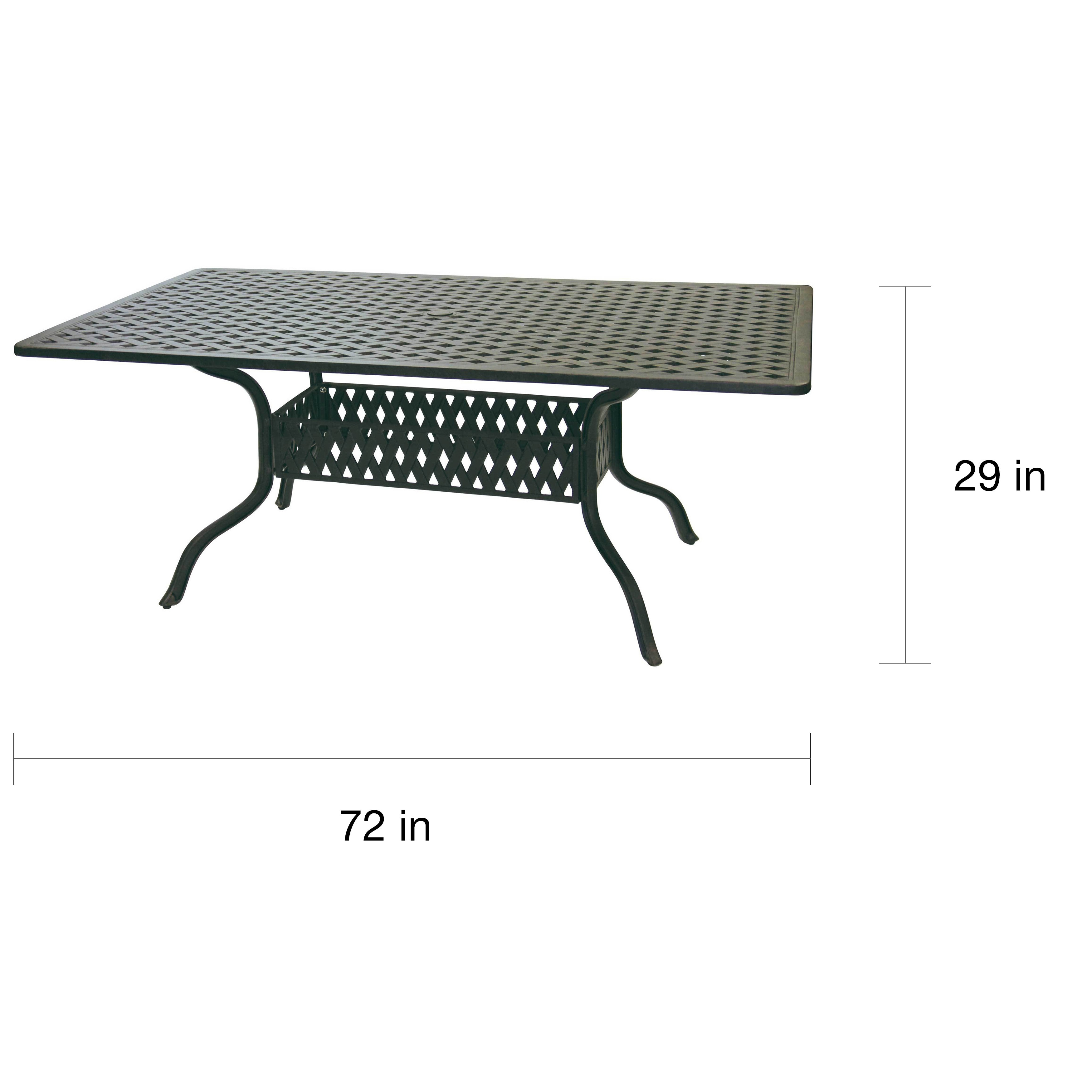 Shop Darlee Ten Star Antique Bronze Cast Aluminum Inch X Inch - Black rectangular outdoor dining table