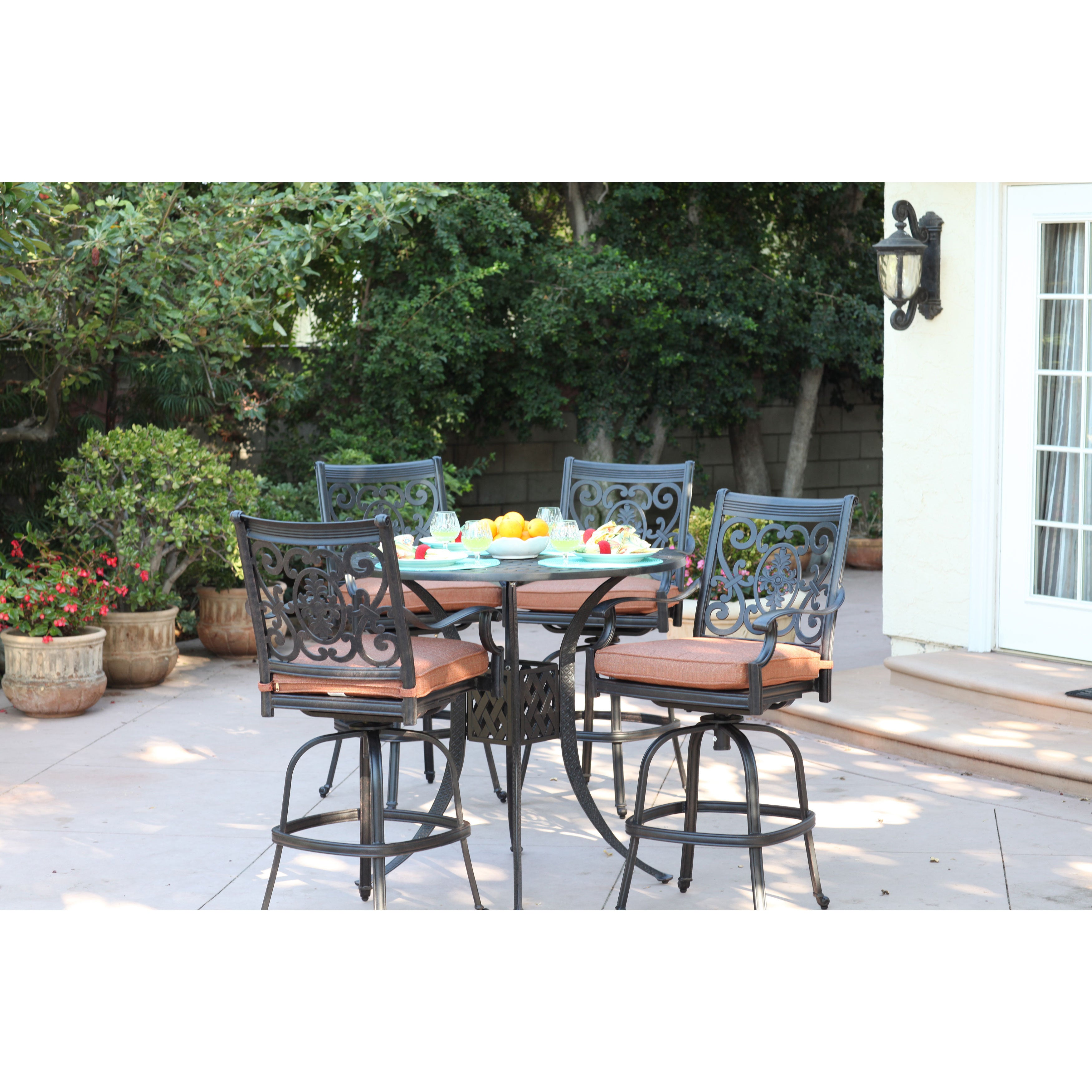 Darlee St. Cruz Antique Bronze Finish Cast Aluminum 5-piece Bar Set Spicy Chili Seat Cushions and 42-inch Round Bar Table - Free Shipping Today ...  sc 1 st  Overstock & Darlee St. Cruz Antique Bronze Finish Cast Aluminum 5-piece Bar Set ...