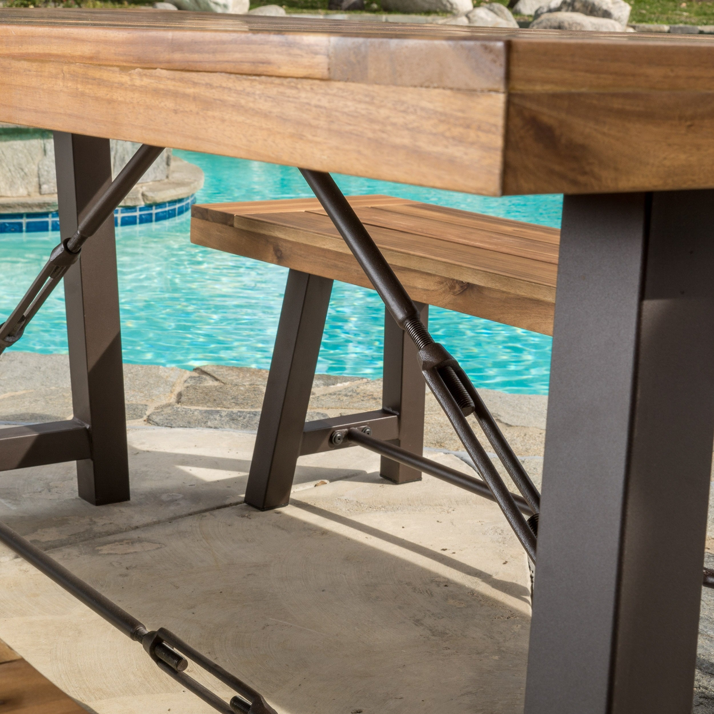 Outdoor Puerto Acacia Wood 3 Piece Picnic Dining Set By Christopher