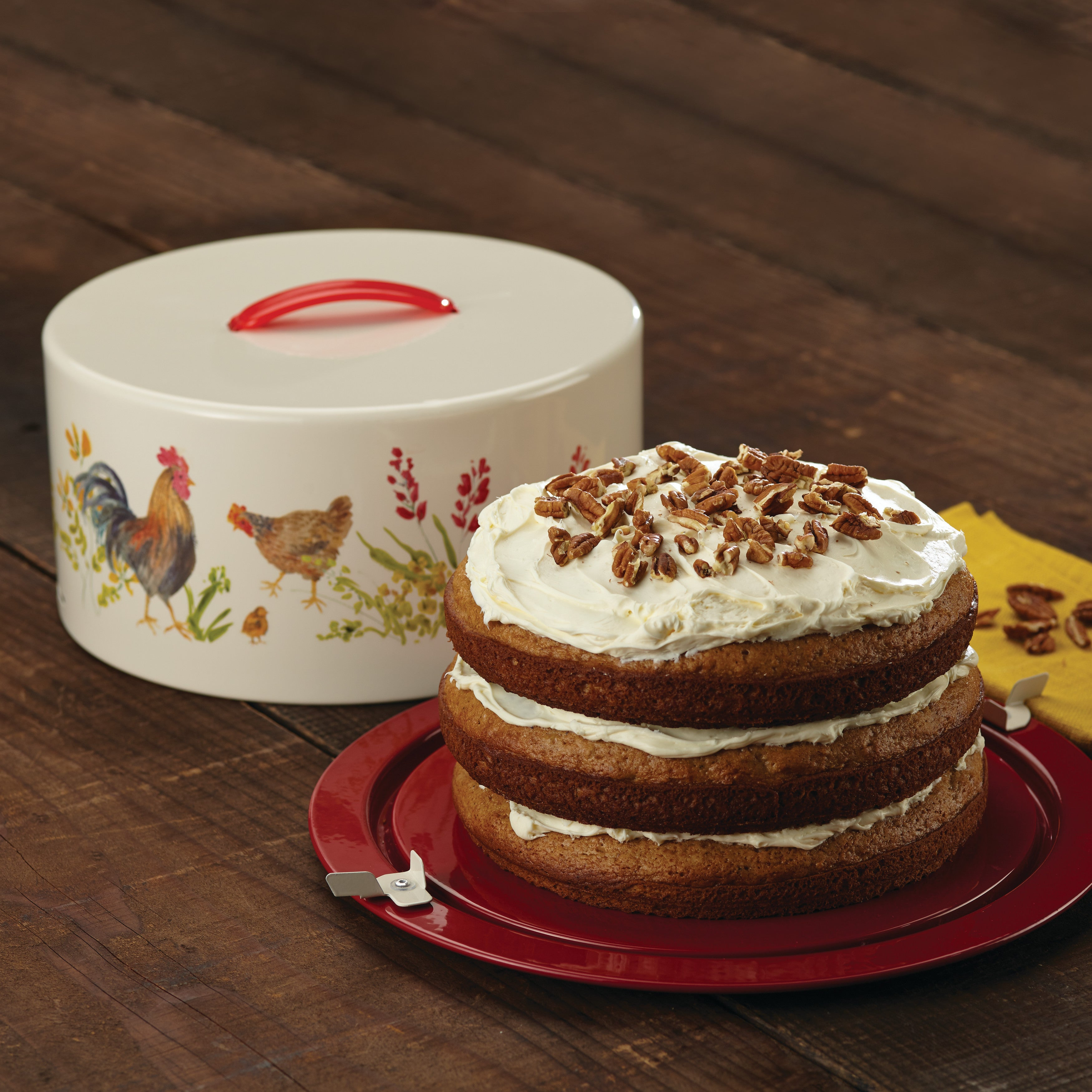 shop paula deen pantryware rooster themed metal cake and pie carrier