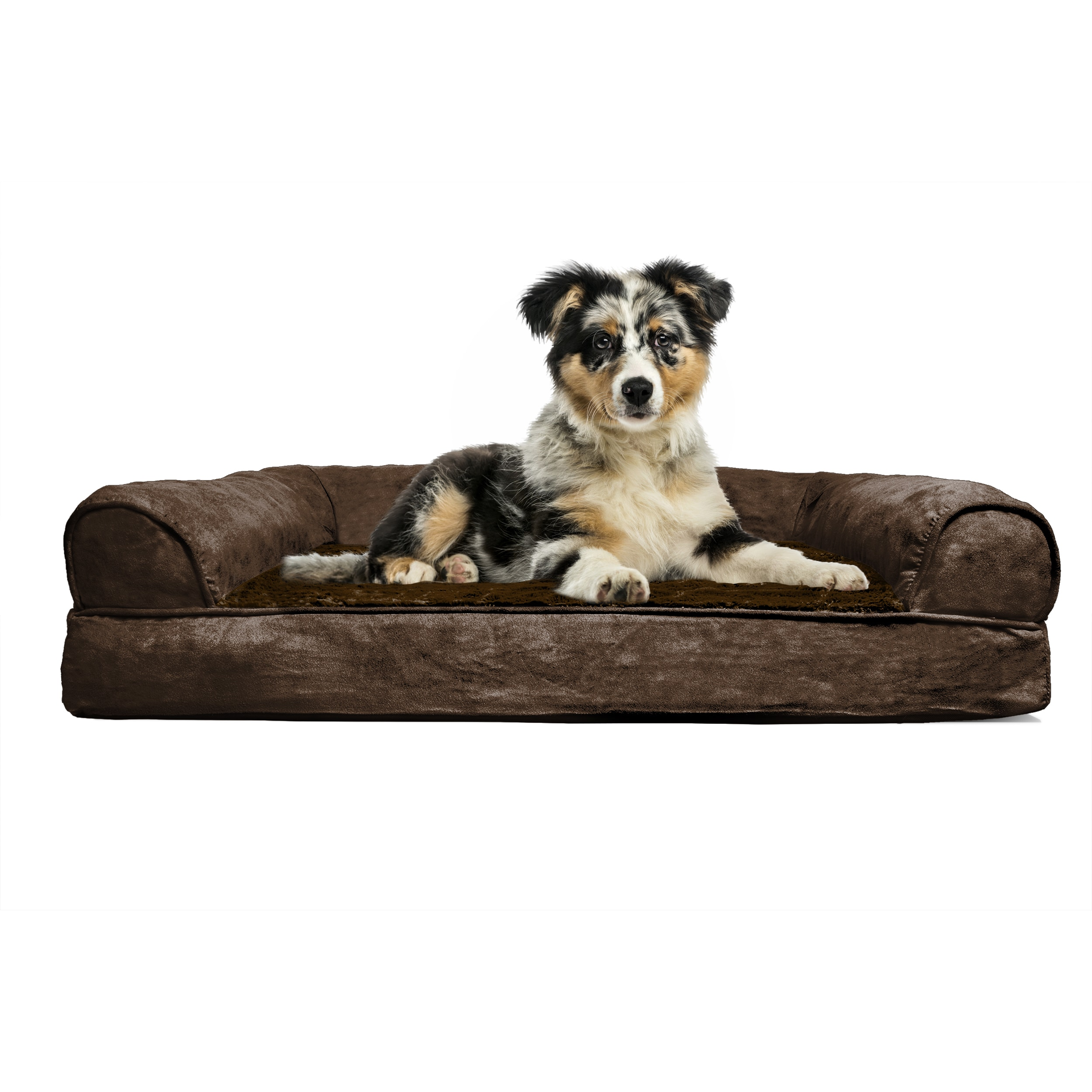 FurHaven Plush & Suede Sofa-Style Orthopedic Bolster Pet Bed ...