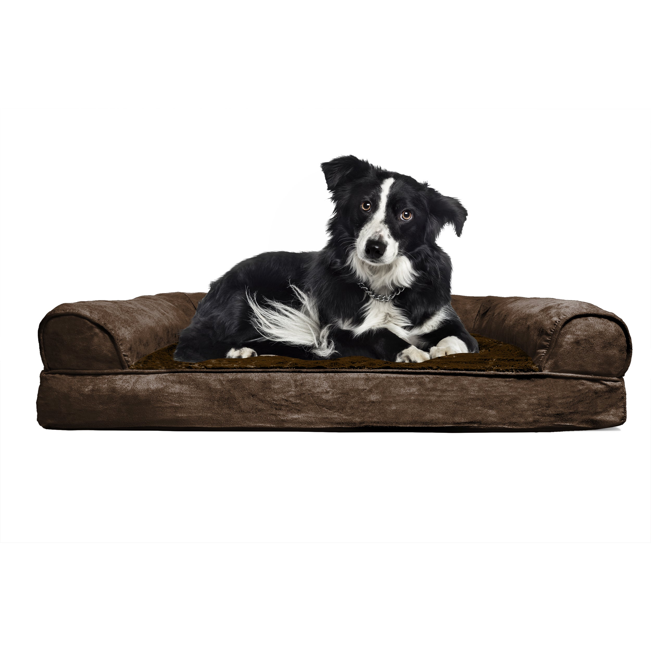 Furhaven Plush Suede Sofa Style Orthopedic Bolster Pet Bed Free Shipping On Orders Over 45 12924391