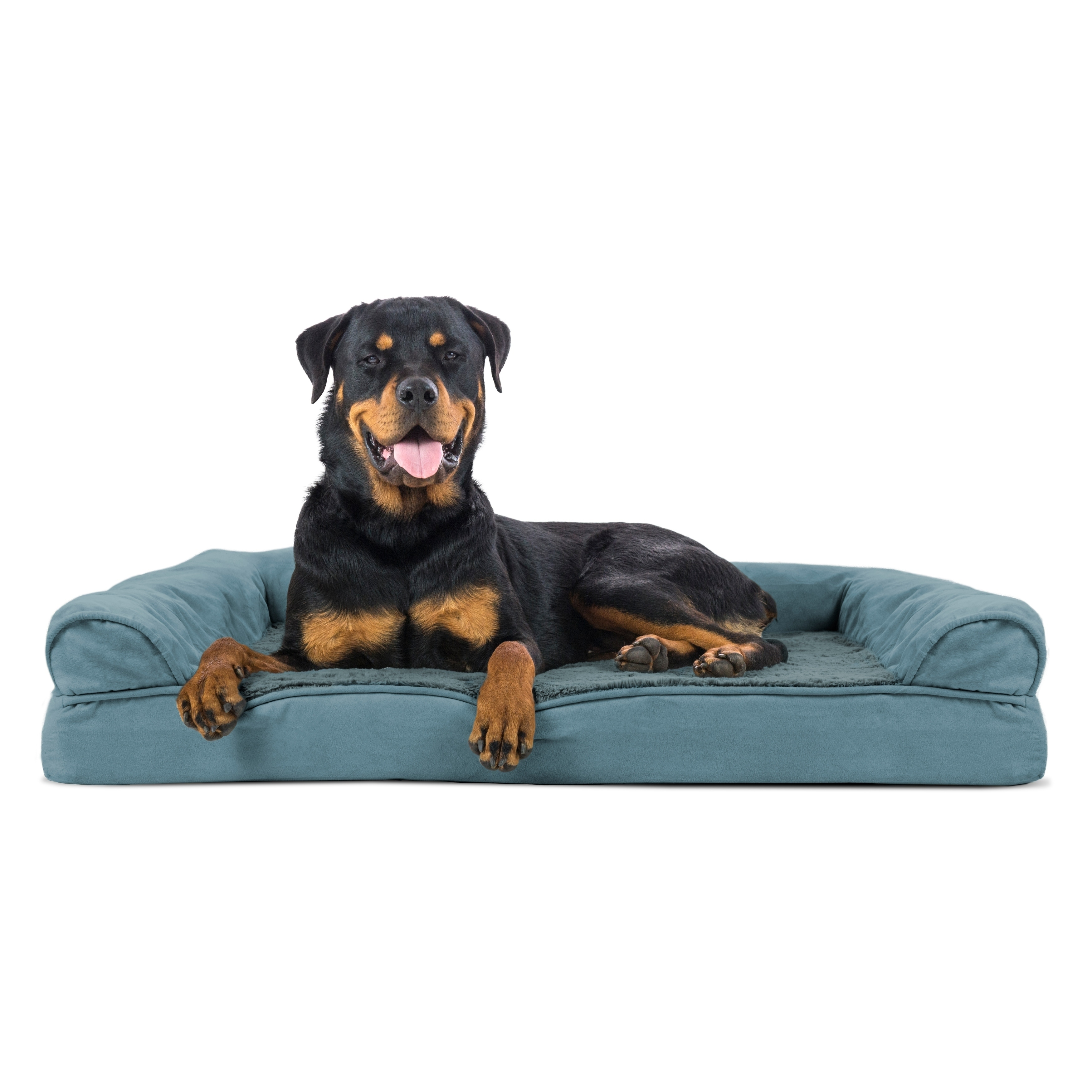Shop Furhaven Plush Suede Sofa Style Orthopedic Bolster Pet Bed