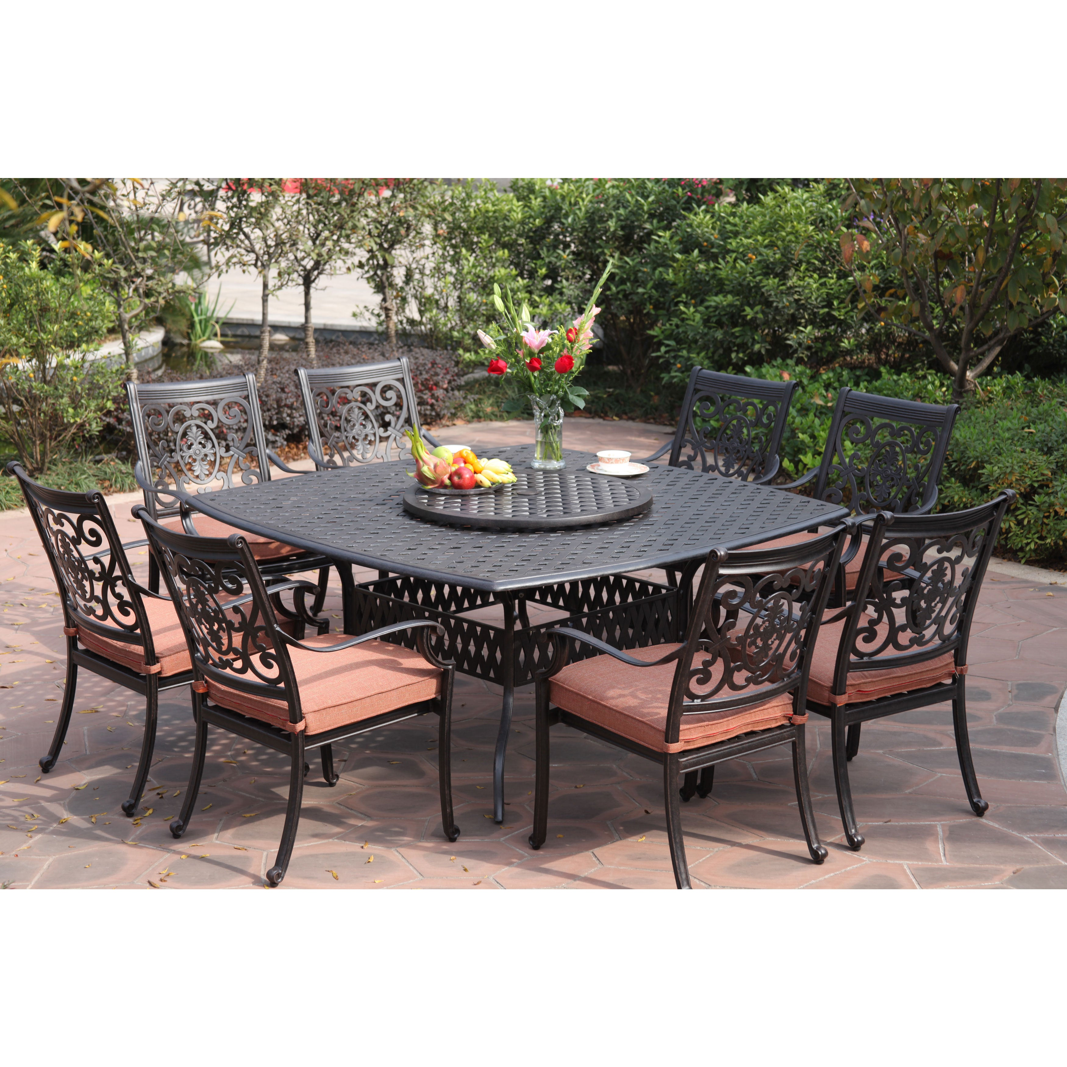 Darlee St Cruz Antiqued Cast Aluminum 10 Piece Dining Set With Y Chili Seat Cushions And 30 Inch Lazy Susan Antique Bronze