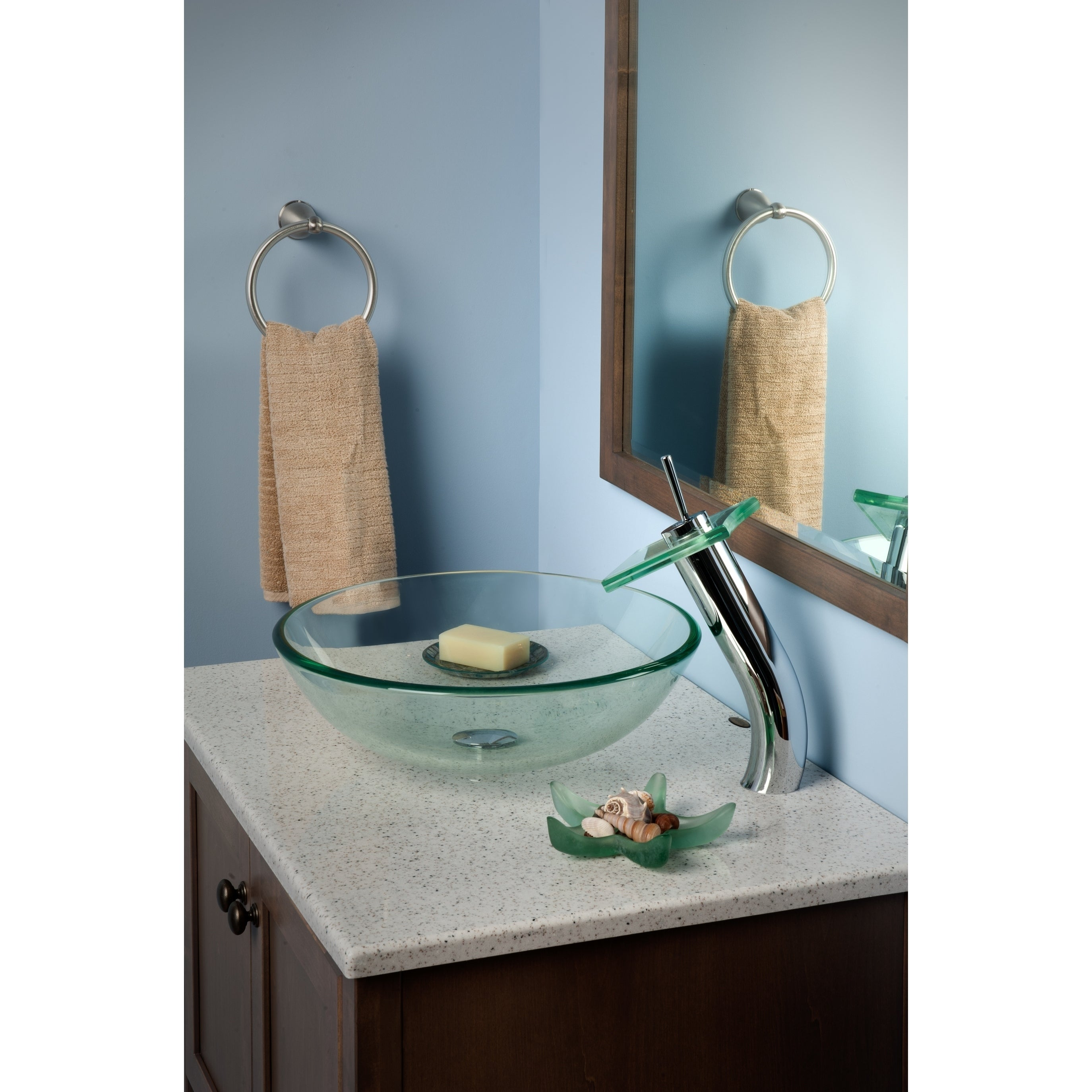 Shop Novatto Squared Chrome Brass and Clear Glass Single-lever Deck ...