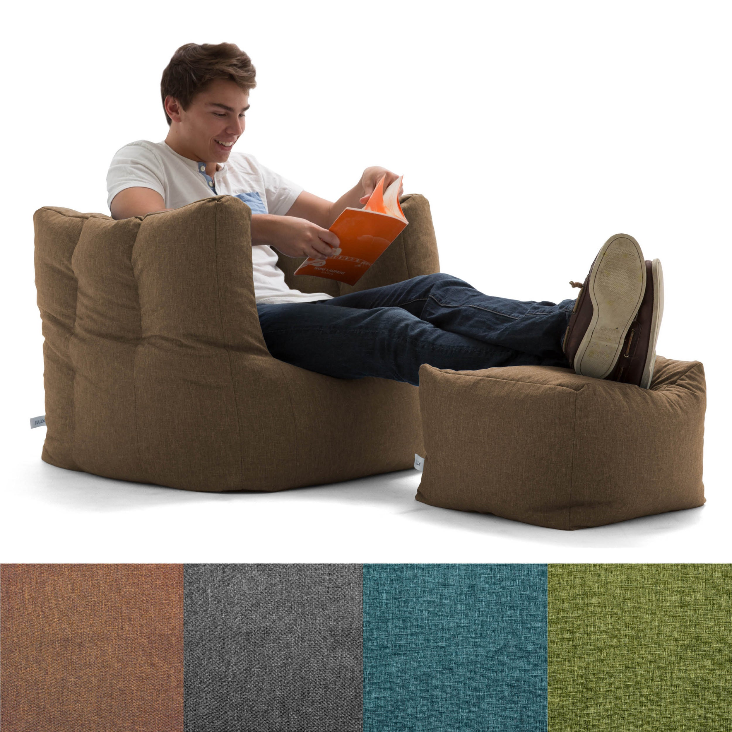 Shop Big Joe Lux Cube U0026 Ottoman Bean Bag Chair, Multiple Colors   Free  Shipping Today   Overstock.com   12927627