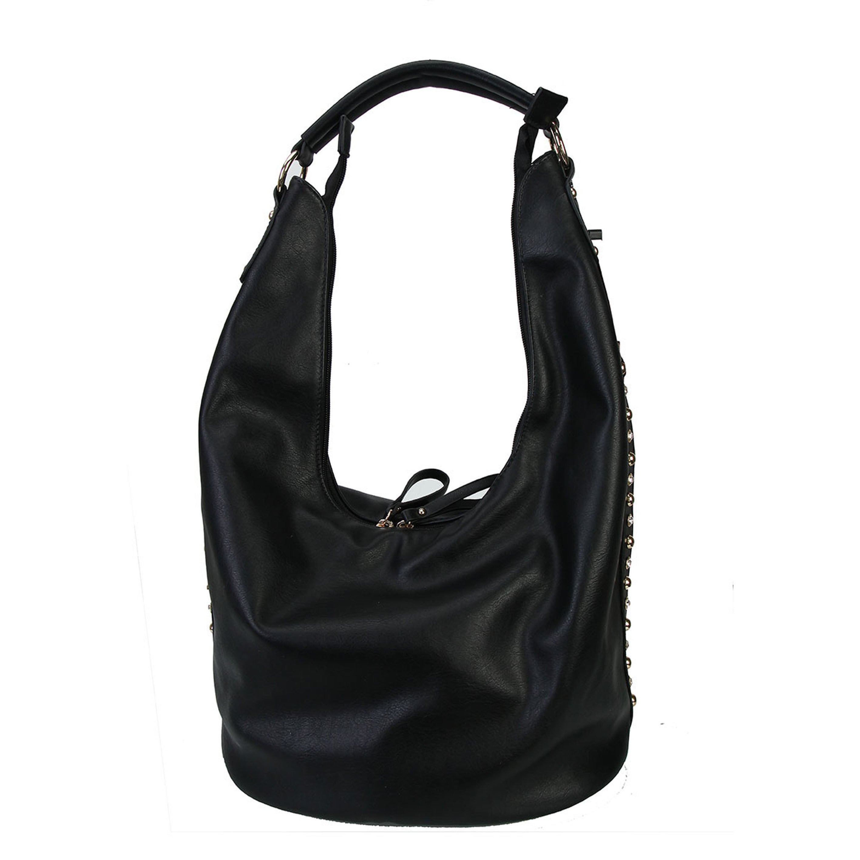 Shop Diophy Studs and Crystals Faux Leather Hobo Handbag - Free Shipping  Today - Overstock.com - 12930958 ee01460289