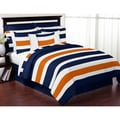 Sweet Jojo Designs Navy Blue and Orange Stripe 3-piece Comforter Set