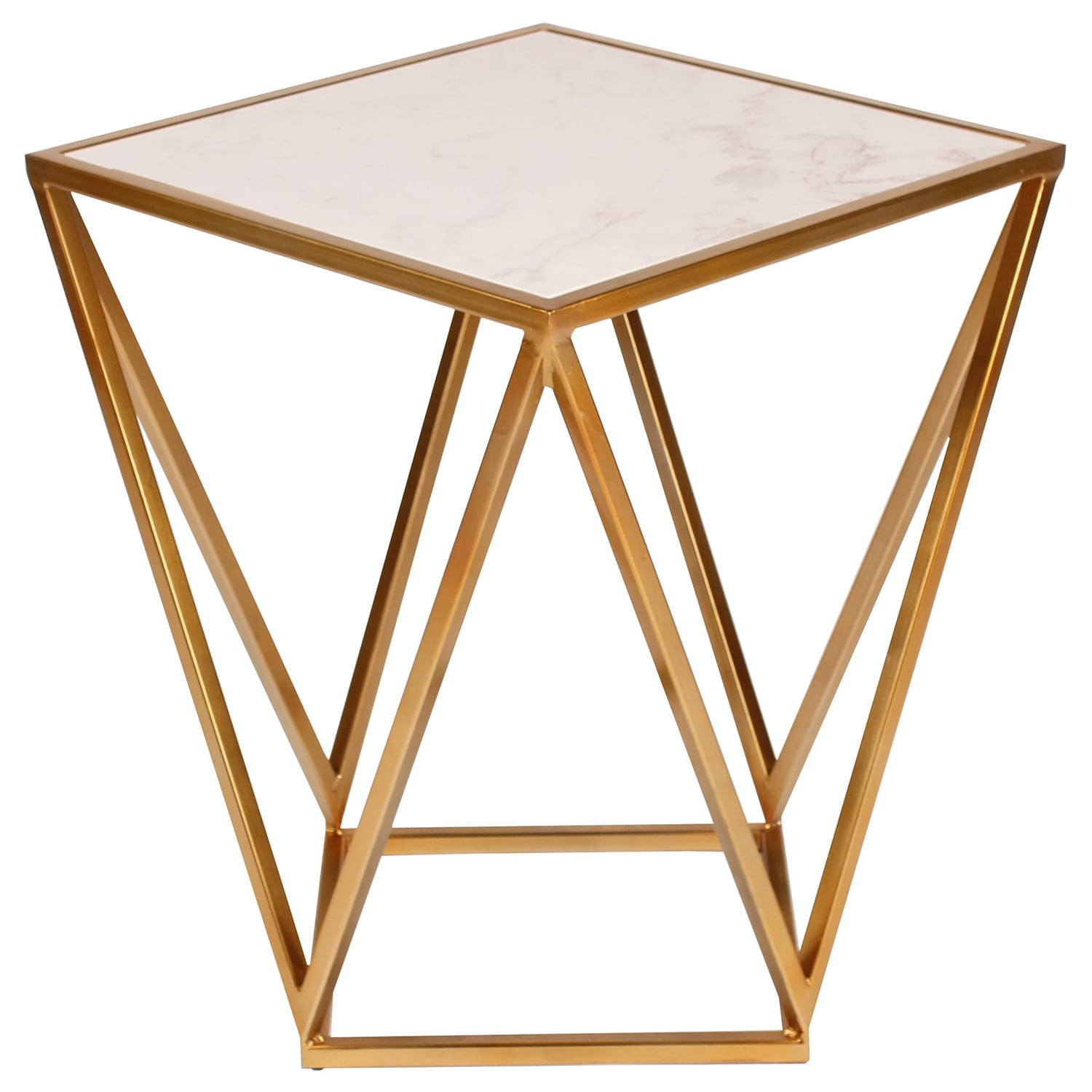 Shop Maia Metal Modern Side Accent Table With Marble Top   Free Shipping  Today   Overstock.com   12958366