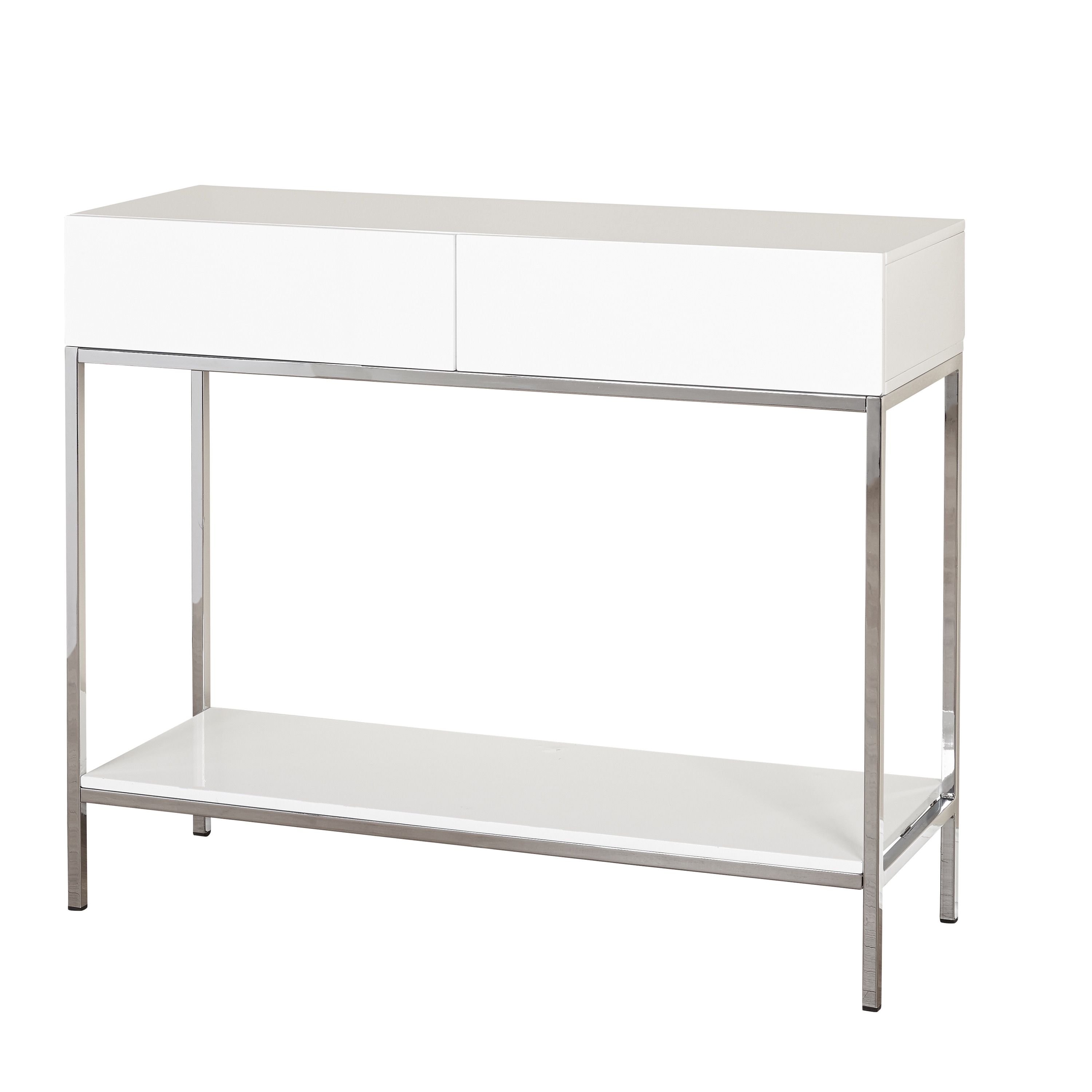 e6b6afb8a98 Shop Simple Living White Wood and Chrome Metal High Gloss Console Table -  On Sale - Ships To Canada - Overstock - 12958561