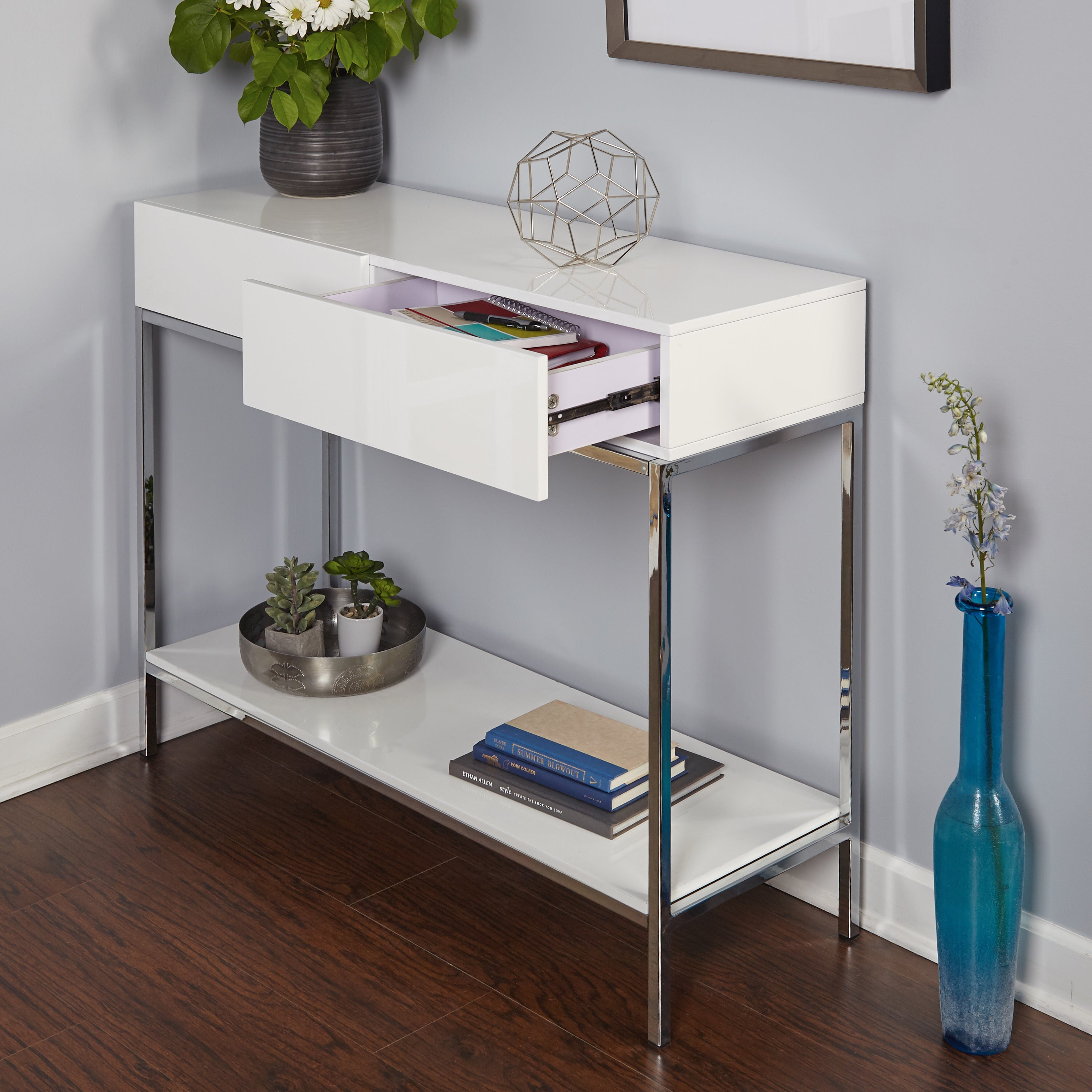 high console table. Simple Living White Wood And Chrome Metal High Gloss Console Table - Free Shipping Today Overstock 19708279 D