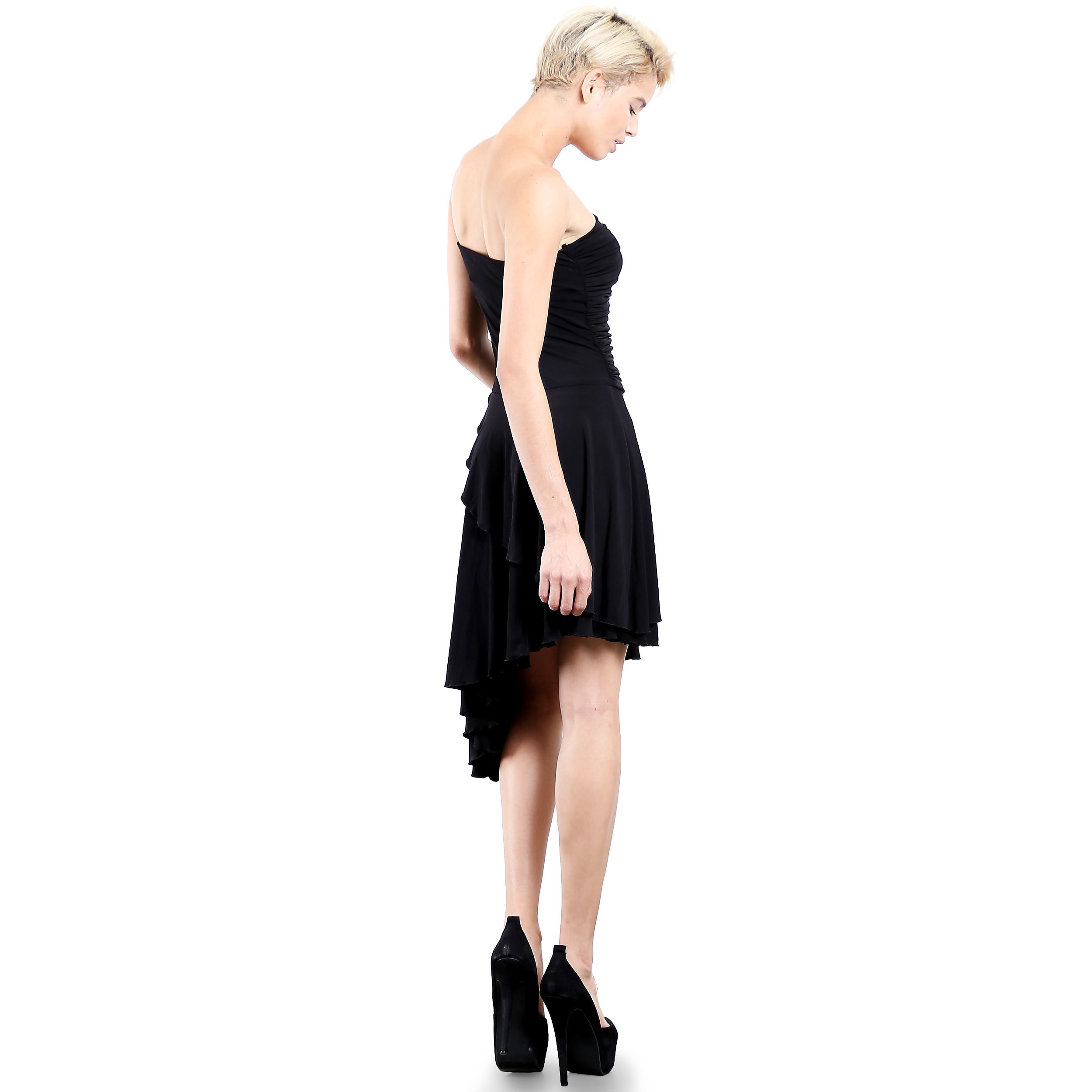 6392635c36 Shop Evanese Women s Black Polyester Spandex Cocktail Party Strapless Tube  Dress with Asymmetrical Skirt - Free Shipping Today - Overstock - 12958661