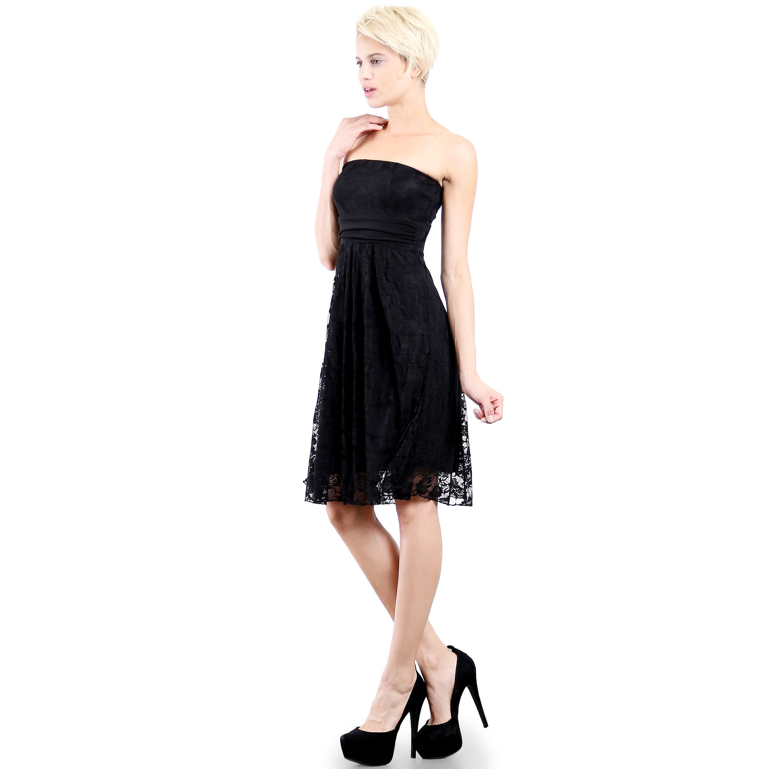 f88843b55e Shop Evanese Women s Black Polyester Lace Strapless Tube Cocktail Party  Dress - Free Shipping Today - Overstock - 12958663