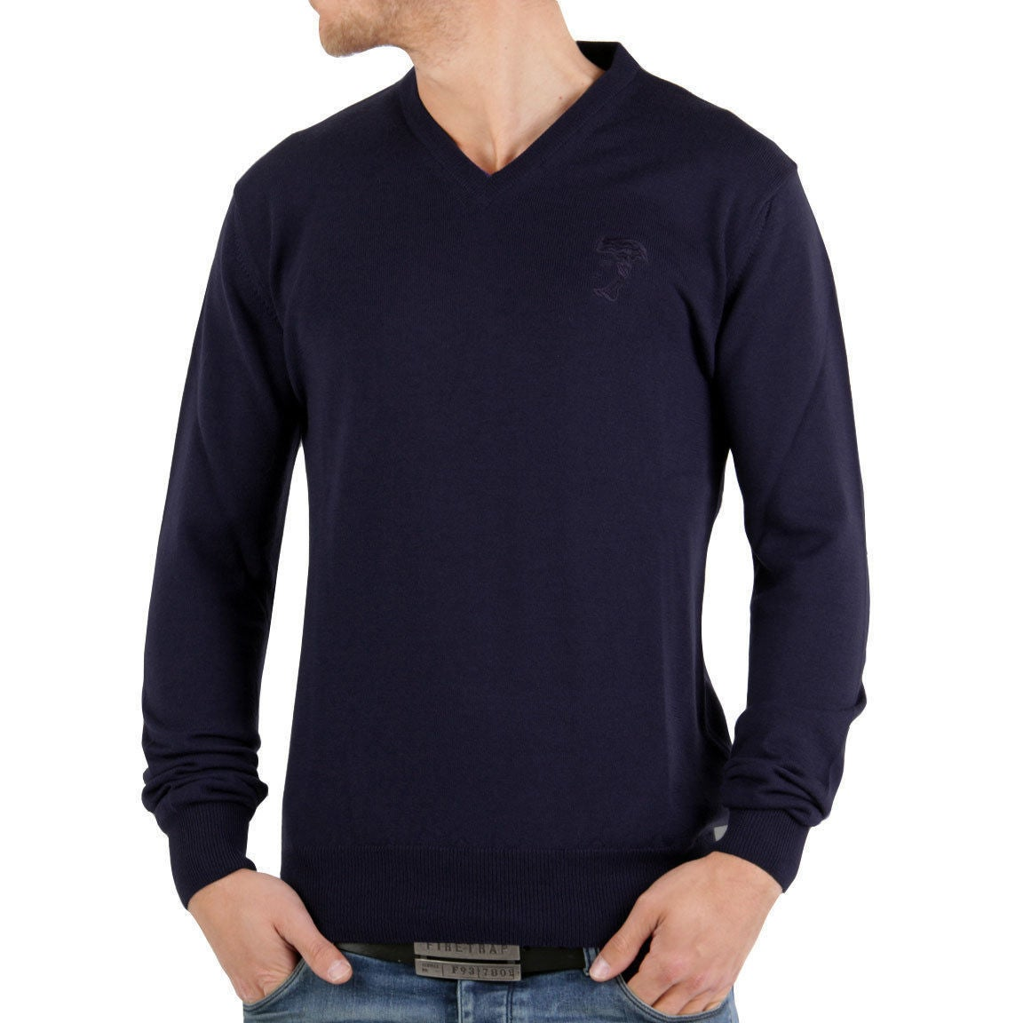 reputable site a4b34 375b2 Versace Collection Navy V-neck Wool Sweater