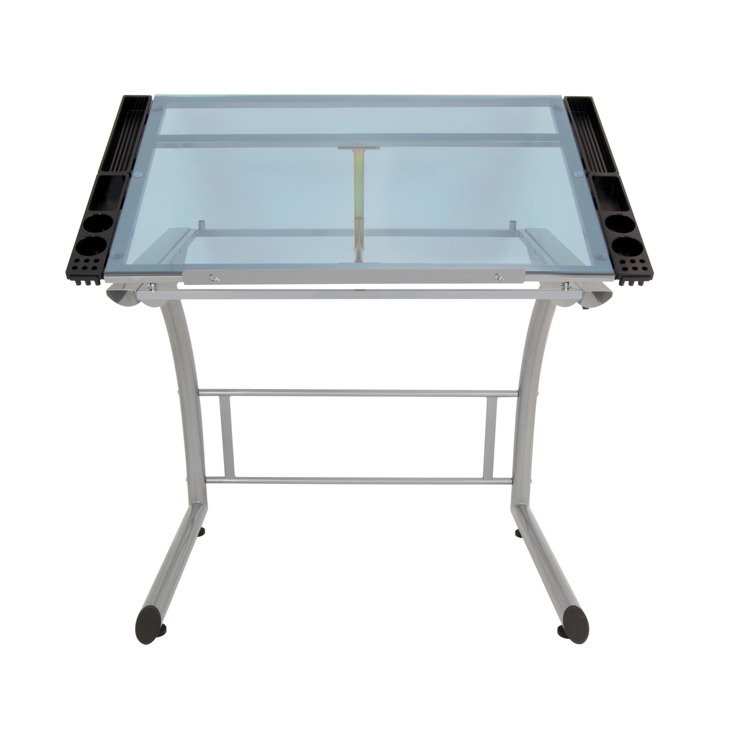 Shop Studio Designs Triflex Metal And Glass Drawing Table   Free Shipping  Today   Overstock.com   12971584