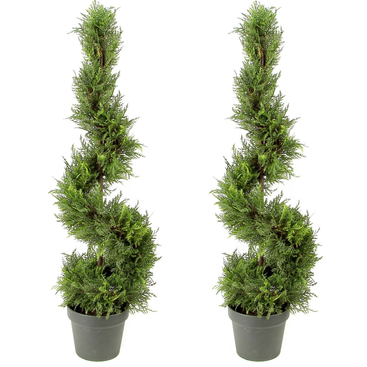 3 Foot Artificial Cypress Spiral Topiary Tree In Pot Set Of 2 Free Shipping Today 12972558