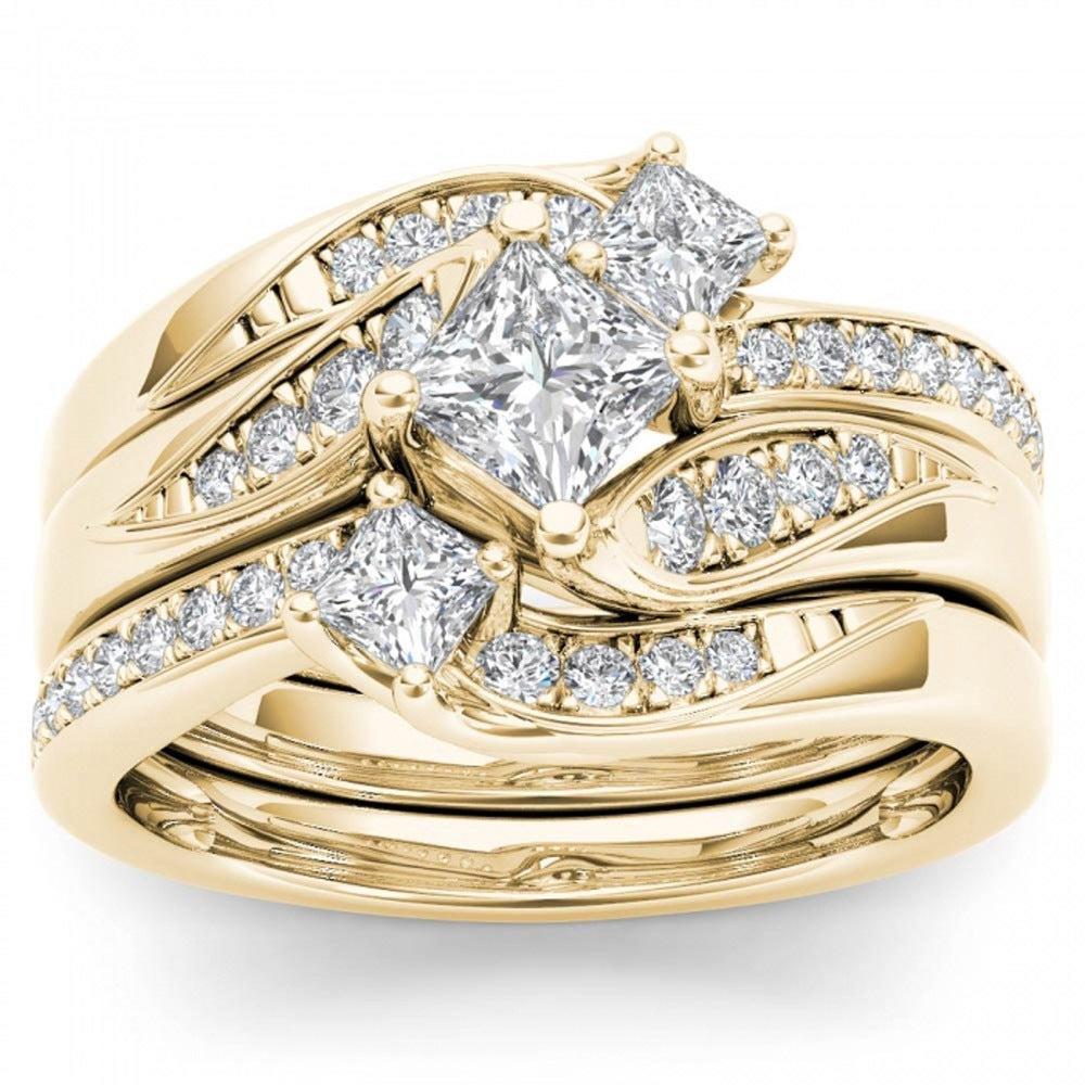 Shop De Couer 14k Yellow Gold 1ct TDW Diamond Bridal Ring Set   On