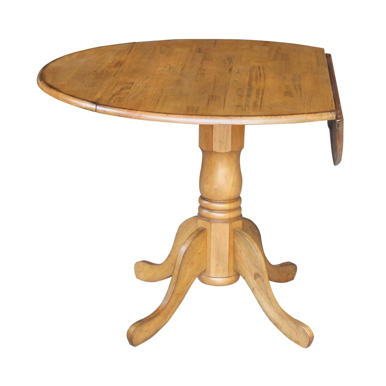 Superieur International Concepts Dual Drop Leaf Round 42 Inch Leaf Pedestal Table    Pecan   Free Shipping Today   Overstock   19728041