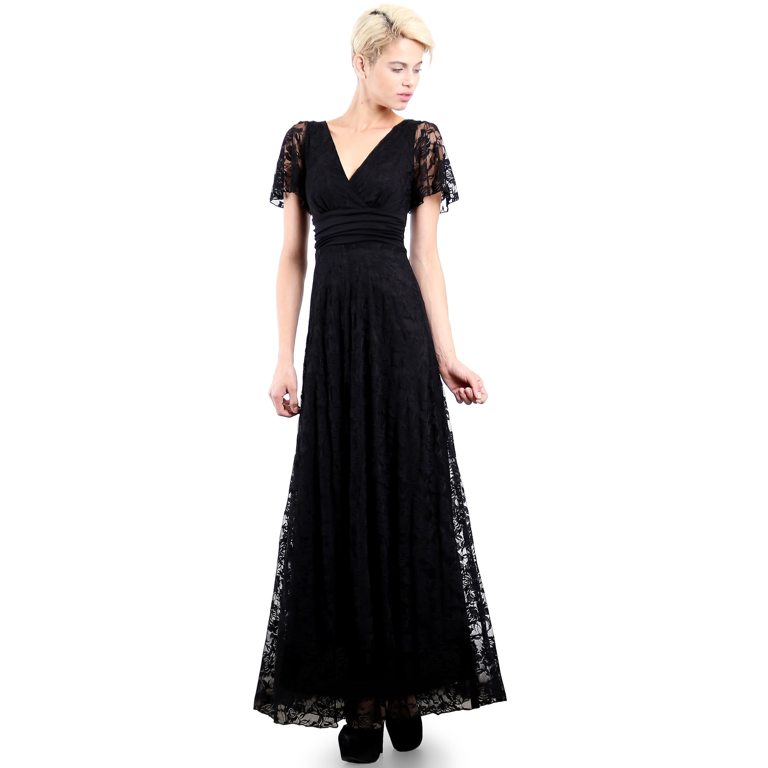 46ff6fe9c502 Evanese Women's Elegant Lace Evening Party Formal Long Dress Gown with  Empire Waist Full Skirt and Short Sleeves